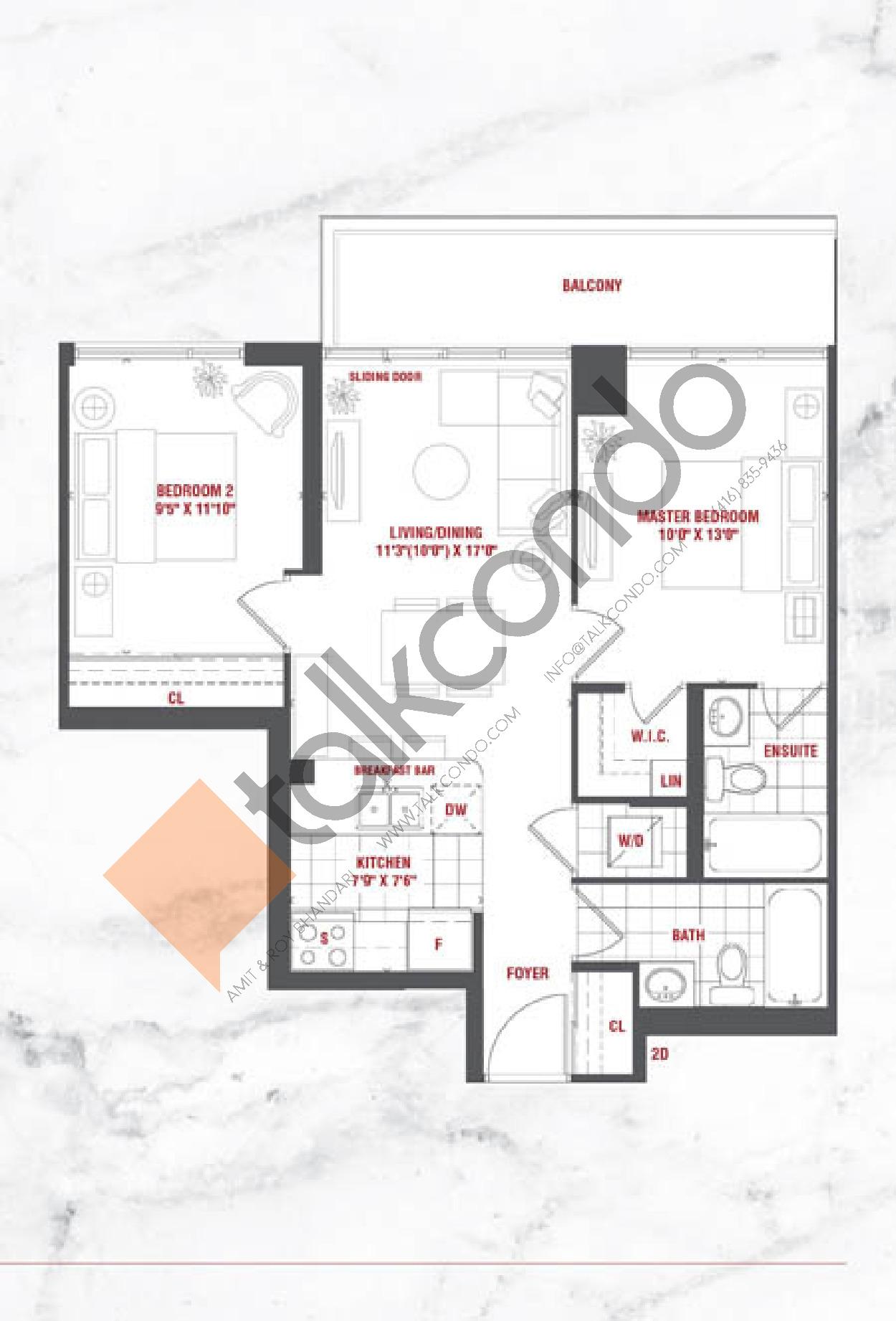 Prestige Floor Plan at Grande Mirage Condos - 752 sq.ft