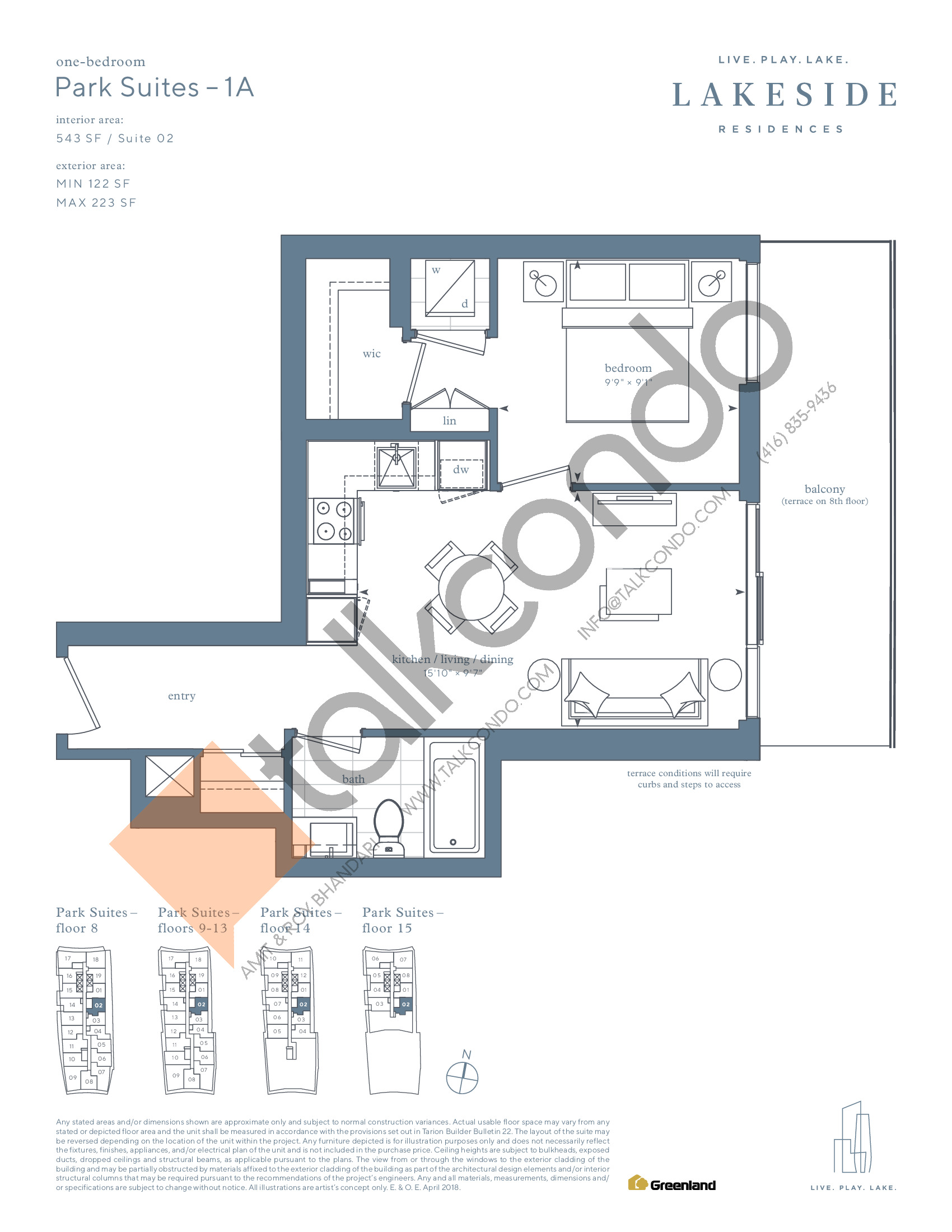 Park Suites - 1A Floor Plan at Lakeside Residences - 543 sq.ft