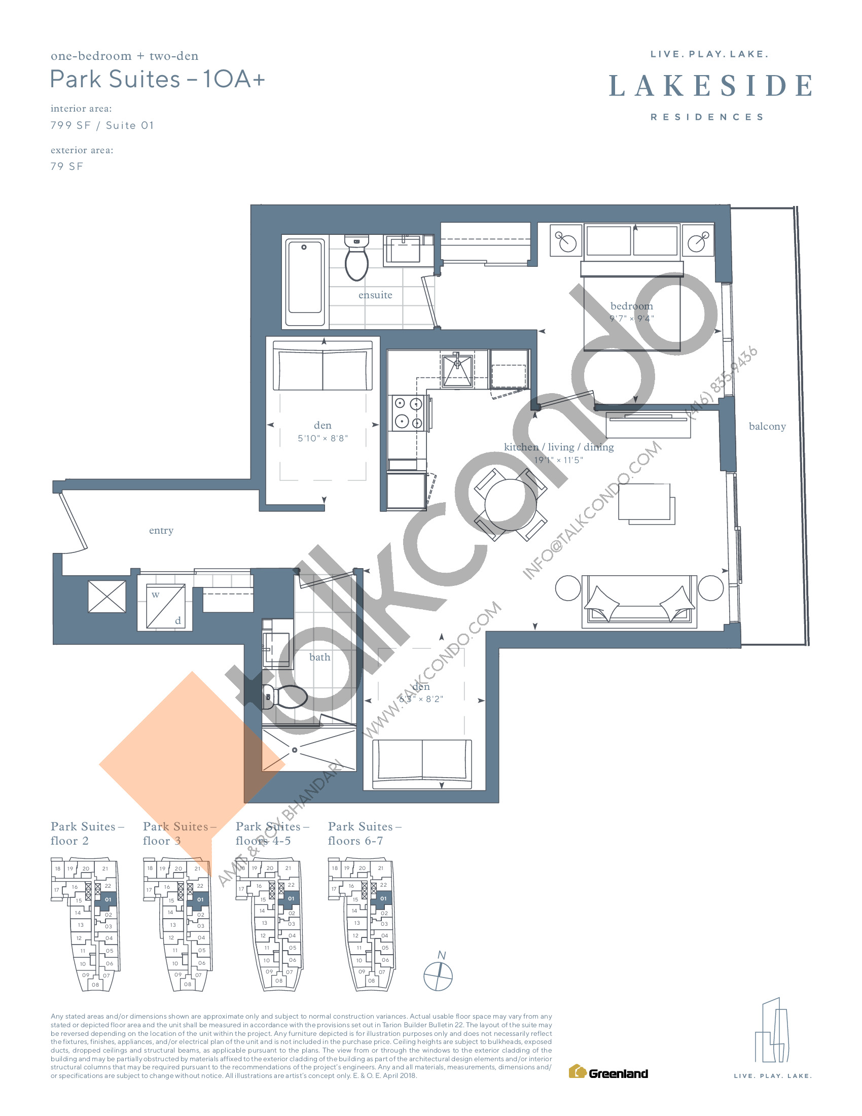 Park Suites - 1OA+ Floor Plan at Lakeside Residences - 799 sq.ft