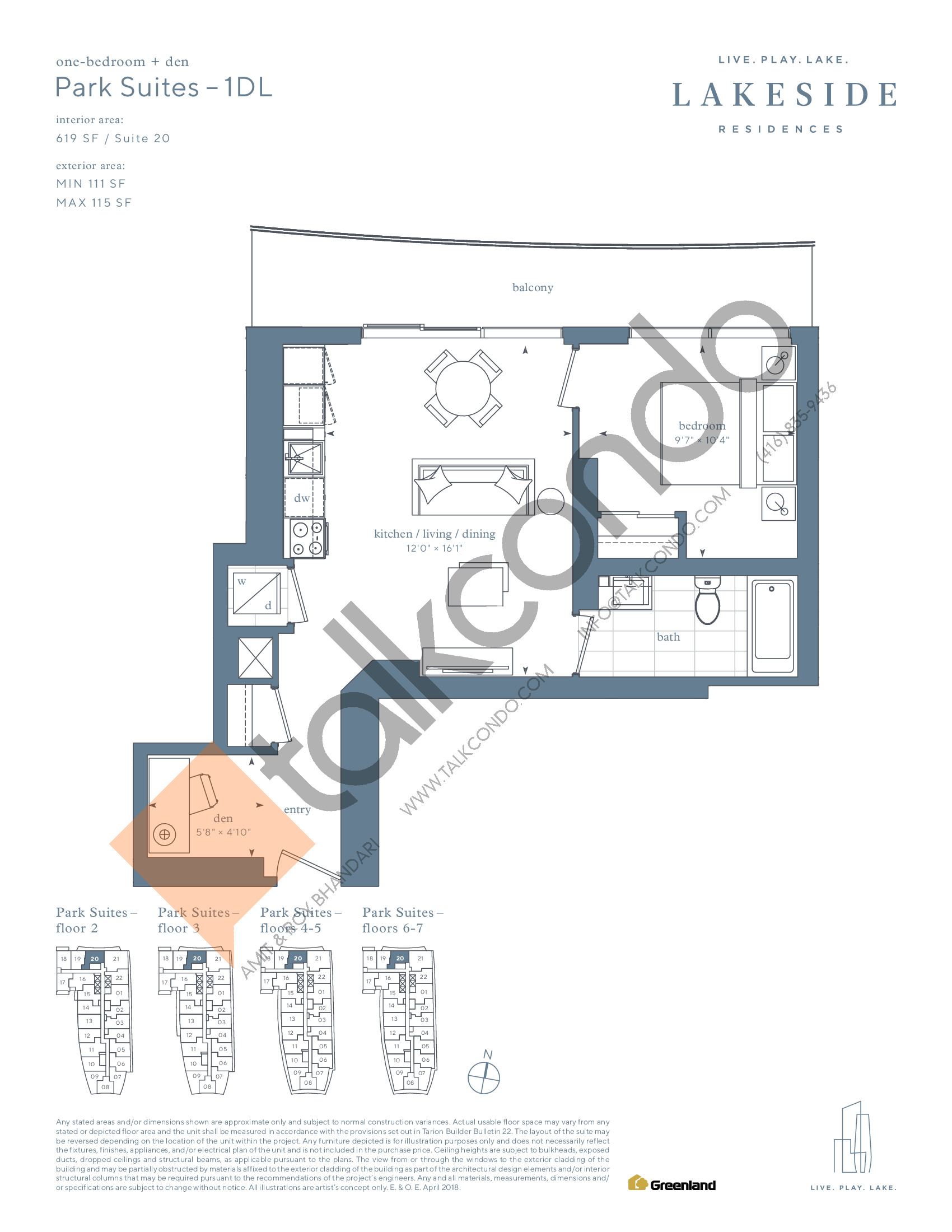 Park Suites - 1DL Floor Plan at Lakeside Residences - 619 sq.ft