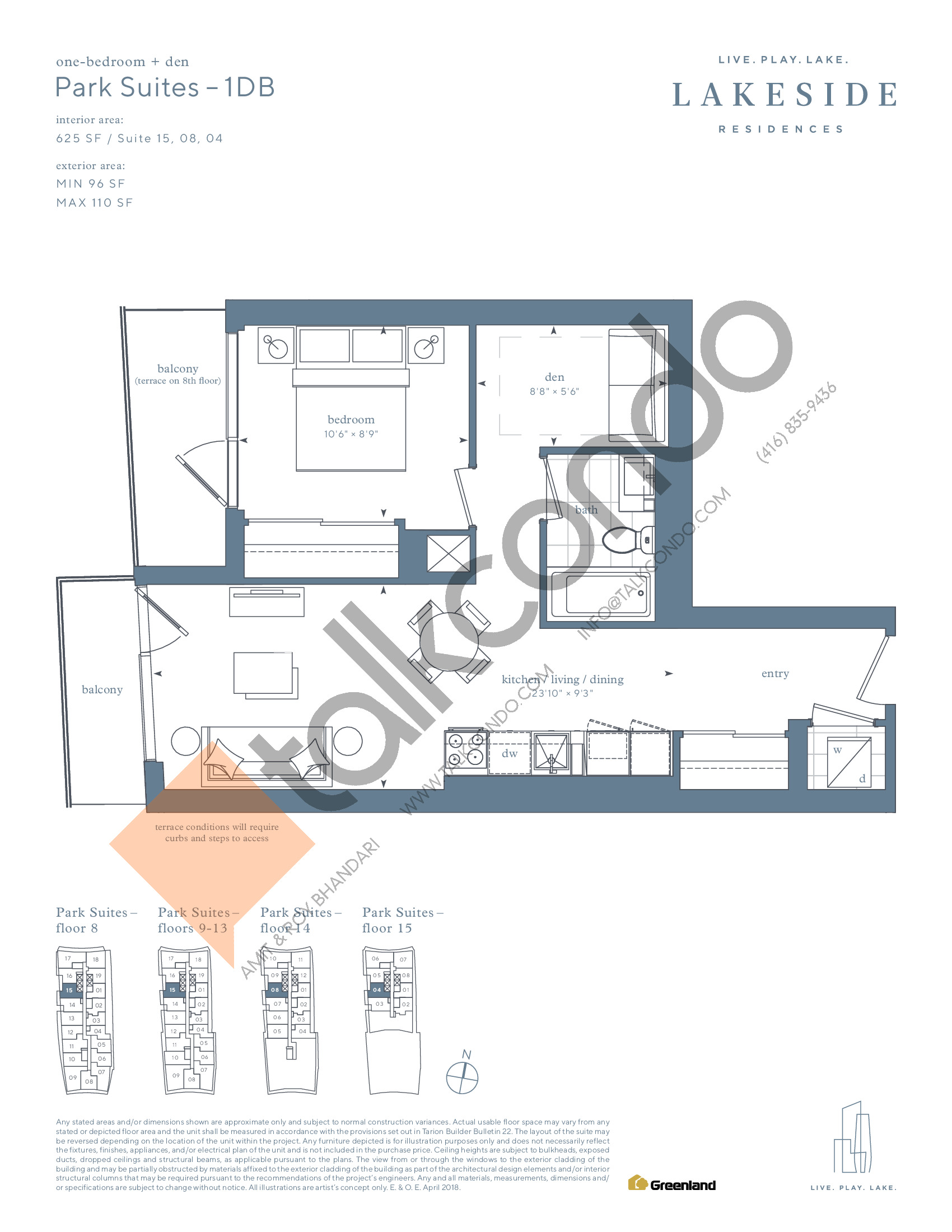 Park Suites - 1DB Floor Plan at Lakeside Residences - 625 sq.ft