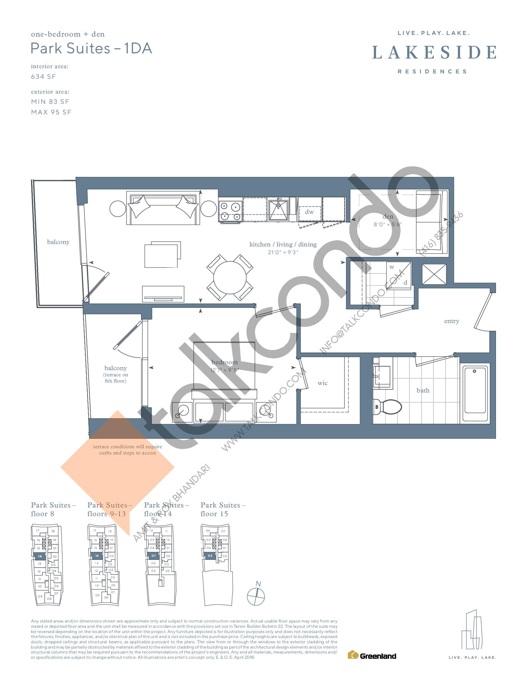 Park Suites - 1DA Floor Plan at Lakeside Residences - 634 sq.ft