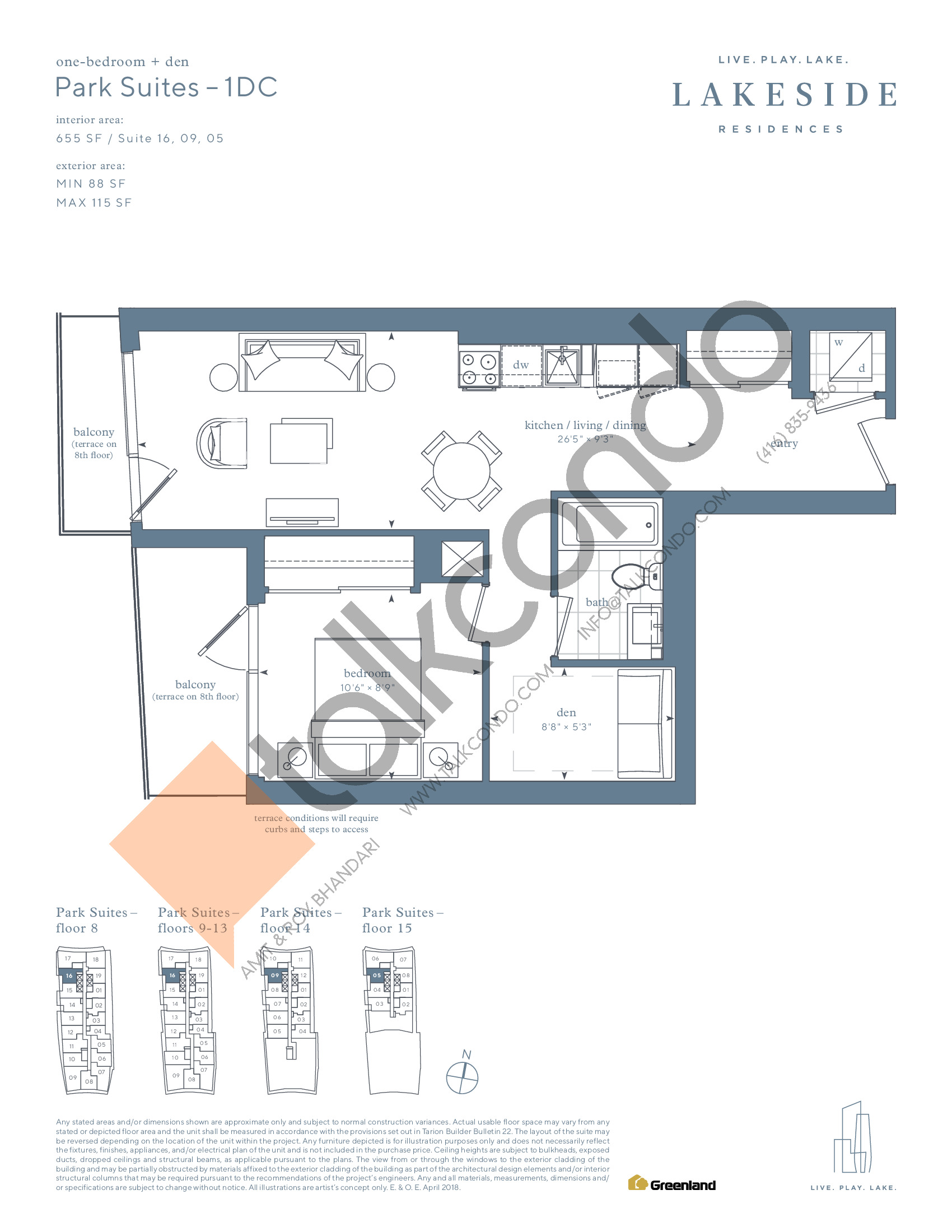 Park Suites - 1DC Floor Plan at Lakeside Residences - 655 sq.ft
