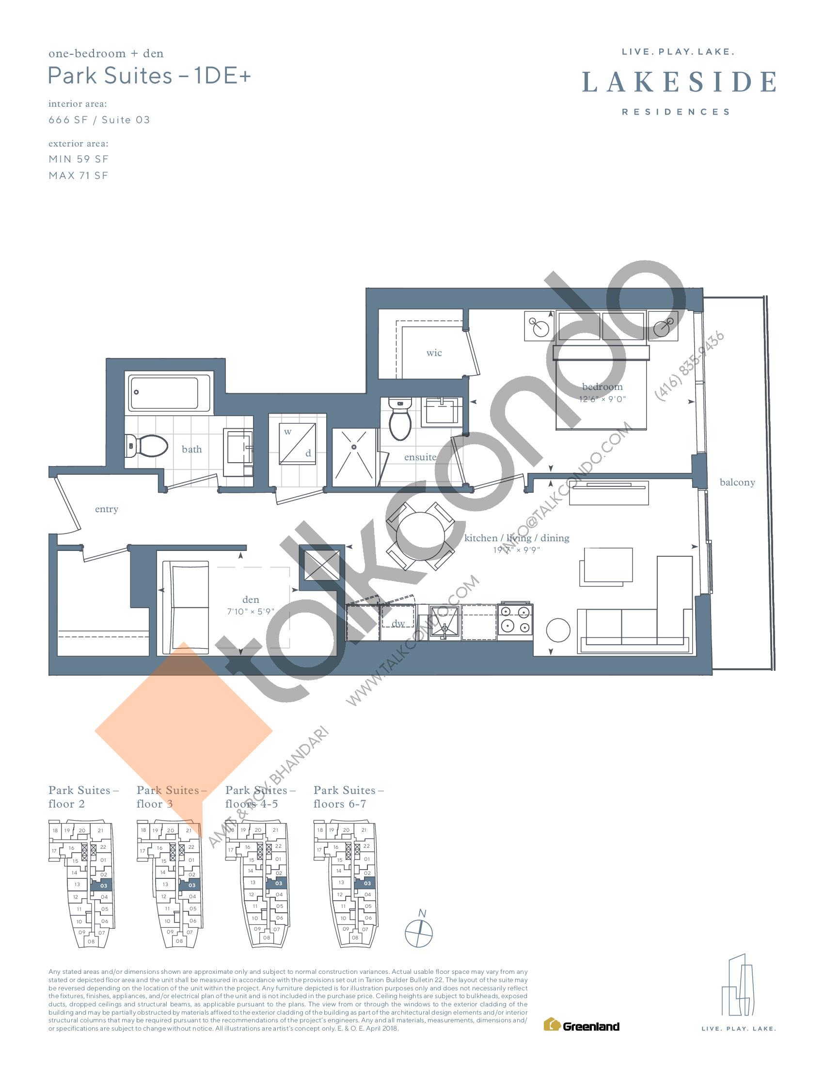 Park Suites - 1DE+ Floor Plan at Lakeside Residences - 666 sq.ft