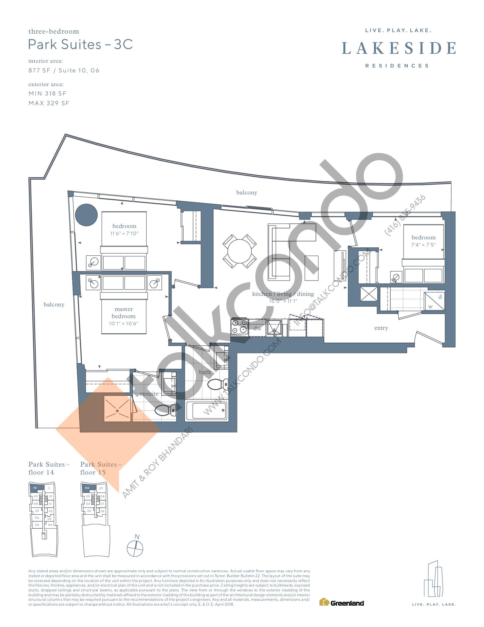Park Suites - 3C Floor Plan at Lakeside Residences - 877 sq.ft