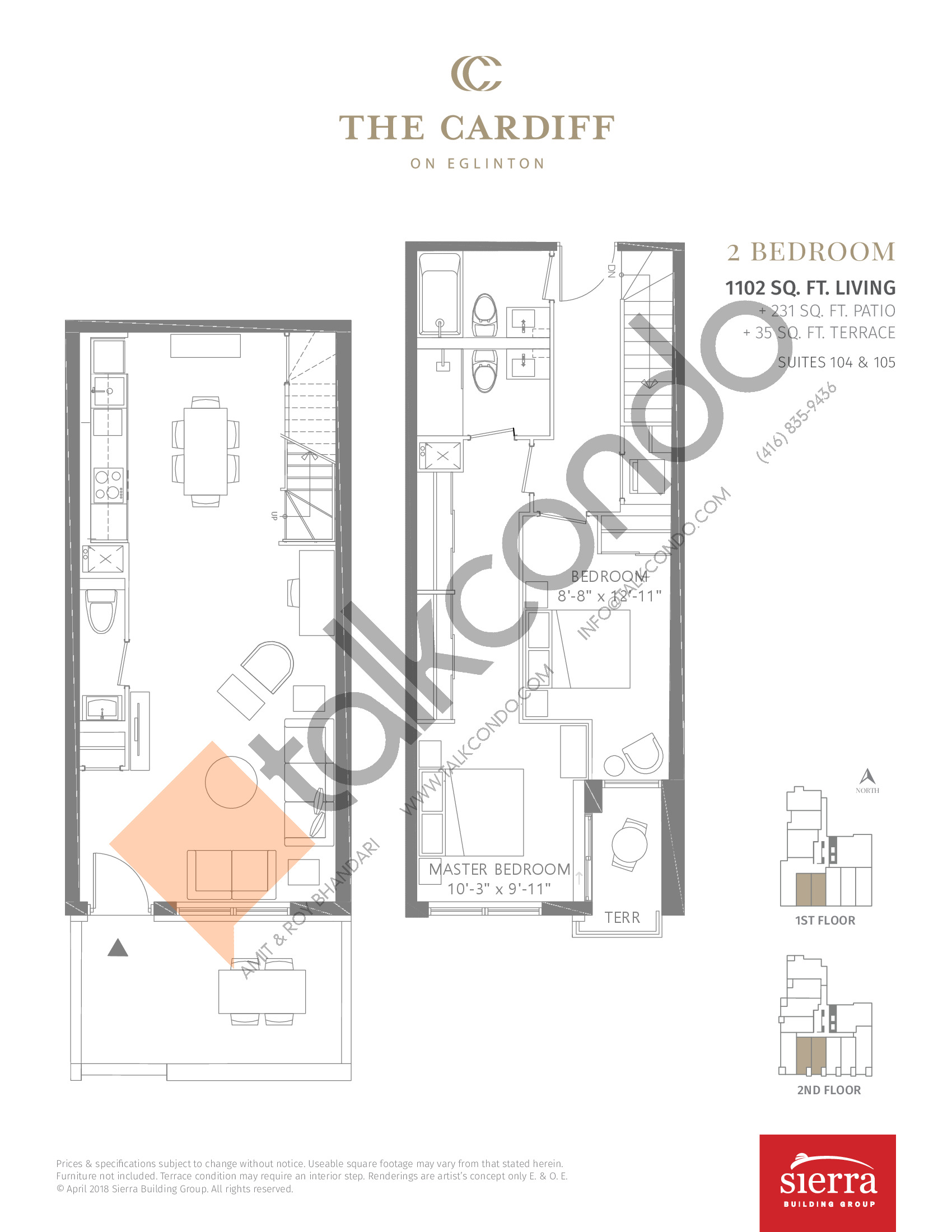 Suites 104 & 105 Floor Plan at The Cardiff Condos on Eglinton - 1102 sq.ft