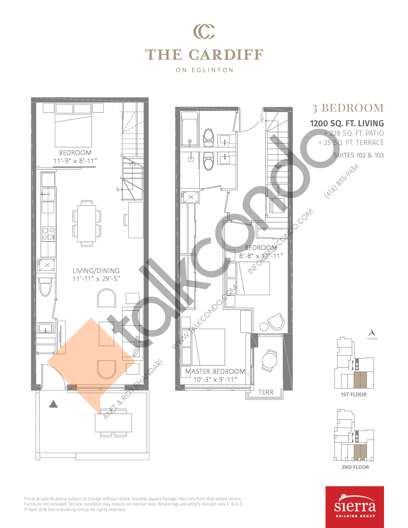 Suites 102 & 103 Floor Plan at The Cardiff Condos on Eglinton - 1200 sq.ft