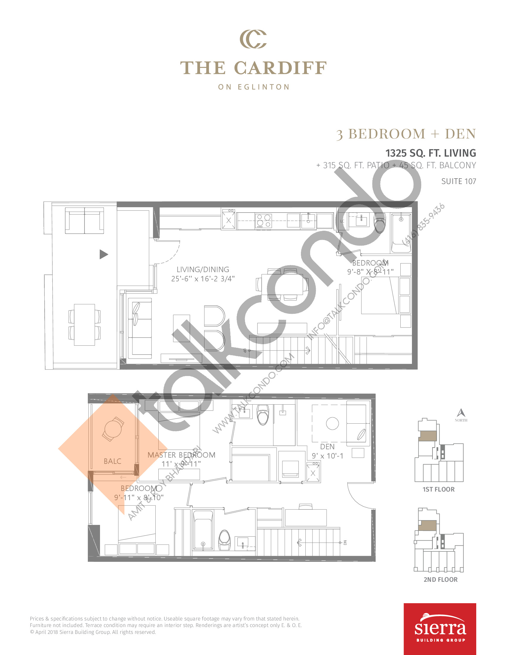 Suite 107 Floor Plan at The Cardiff Condos on Eglinton - 1325 sq.ft