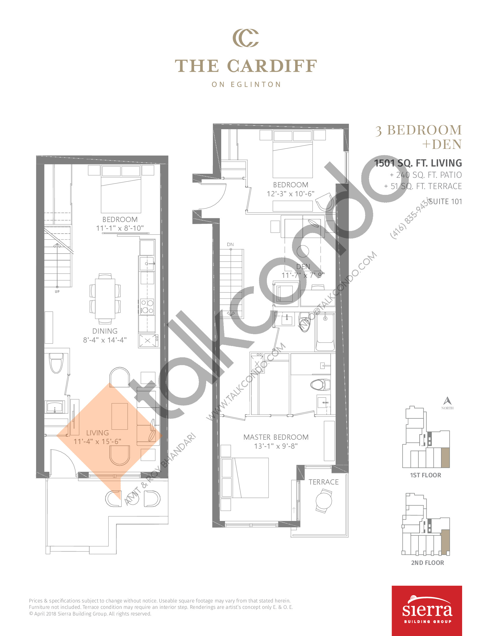 Suite 101 Floor Plan at The Cardiff Condos on Eglinton - 1501 sq.ft