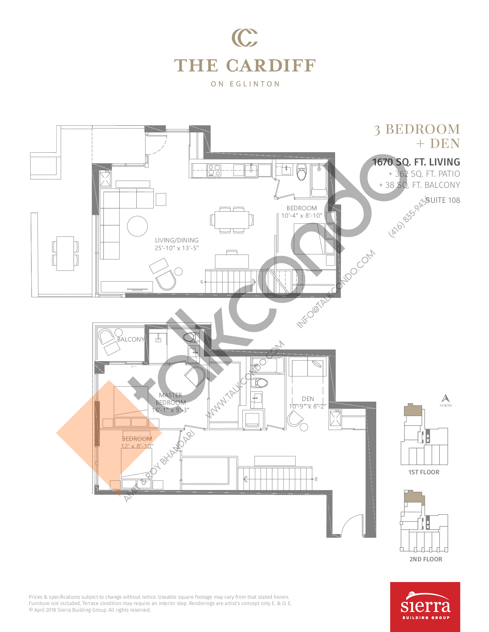 Suite 108 Floor Plan at The Cardiff Condos on Eglinton - 1670 sq.ft