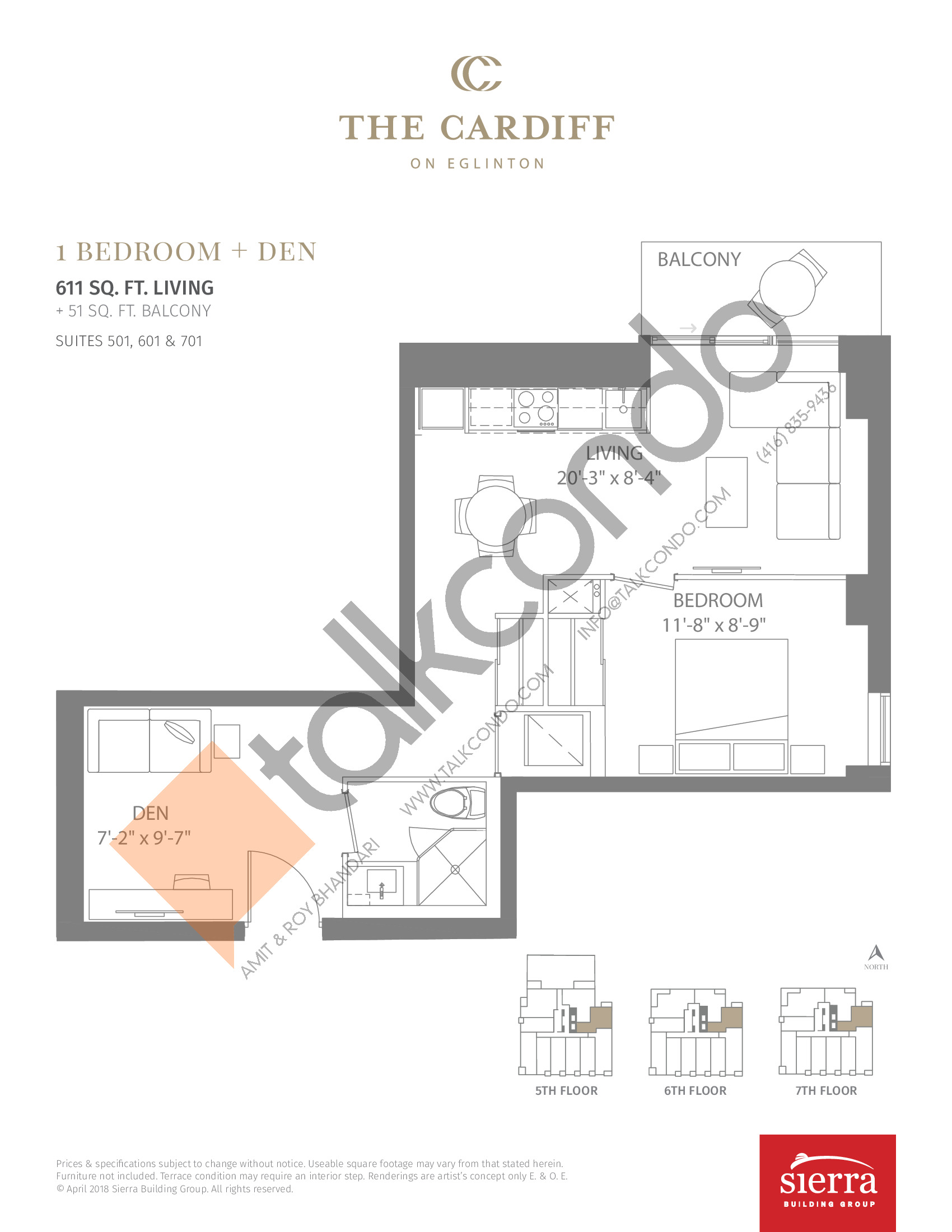 Suites 501, 601 & 701 Floor Plan at The Cardiff Condos on Eglinton - 611 sq.ft