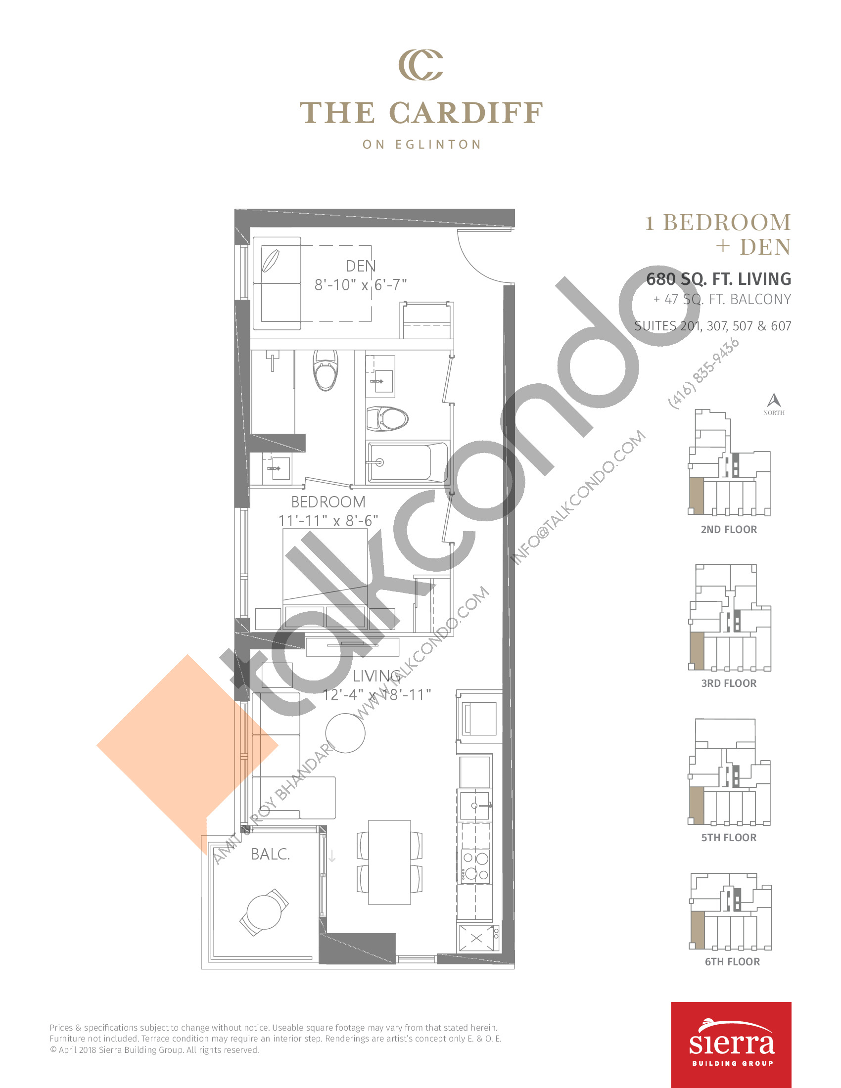 Suites 201, 307, 507 & 607 Floor Plan at The Cardiff Condos on Eglinton - 680 sq.ft