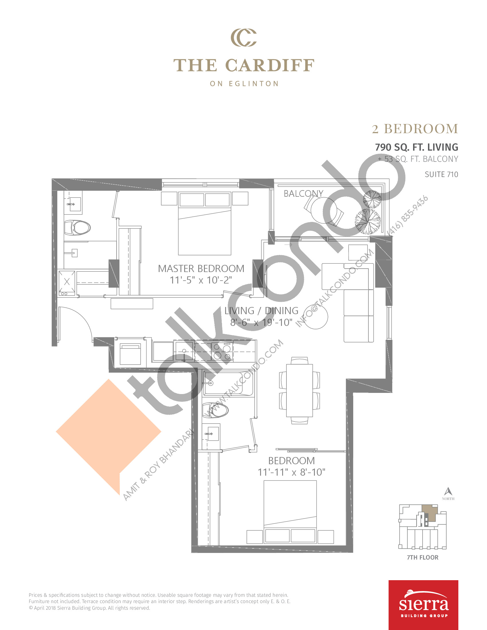 Suite 710 Floor Plan at The Cardiff Condos on Eglinton - 790 sq.ft