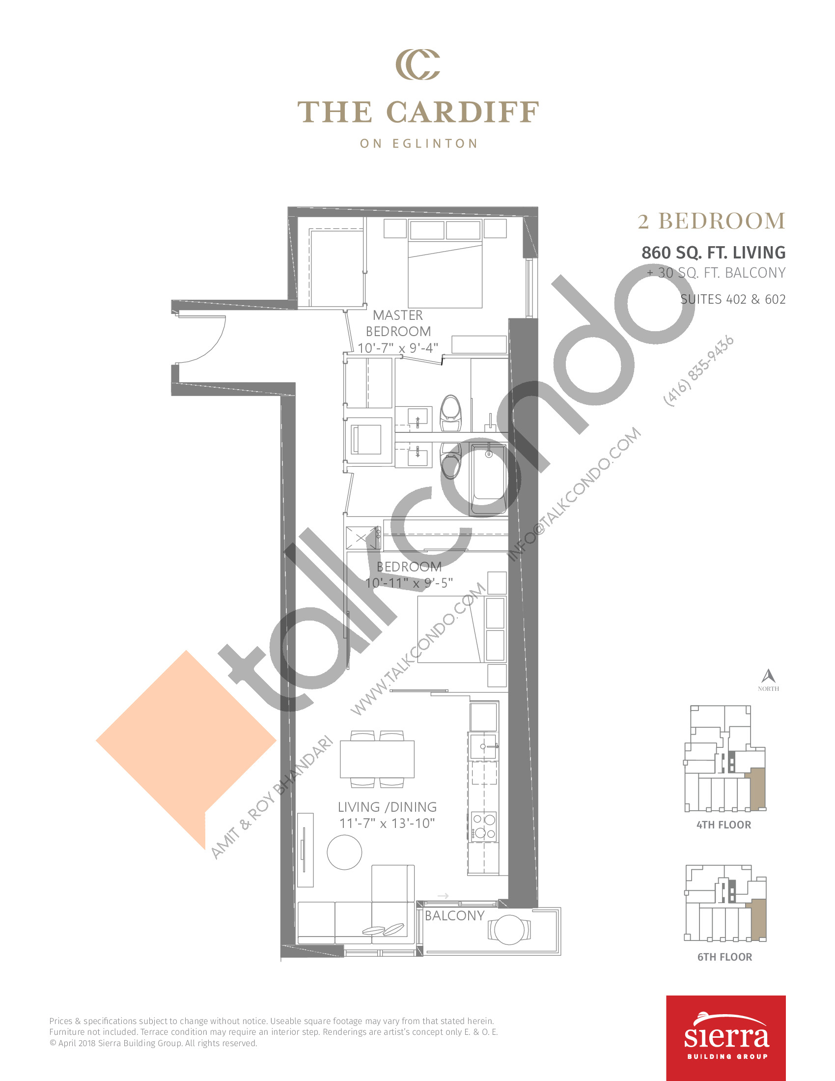 Suites 402 & 602 Floor Plan at The Cardiff Condos on Eglinton - 860 sq.ft