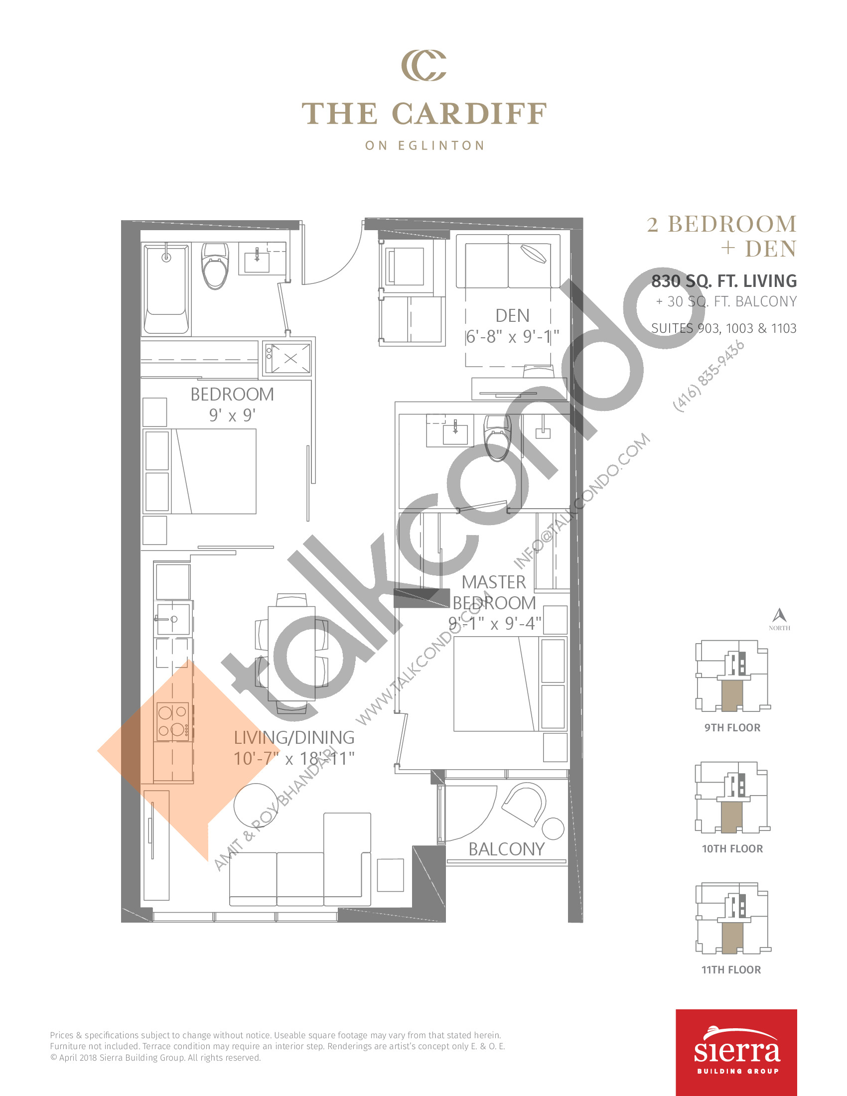 Suite 903, 1003 & 1103 Floor Plan at The Cardiff Condos on Eglinton - 830 sq.ft