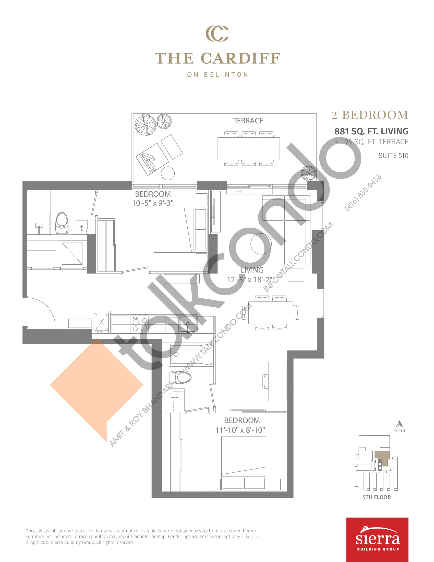 Suite 510 Floor Plan at The Cardiff Condos on Eglinton - 881 sq.ft