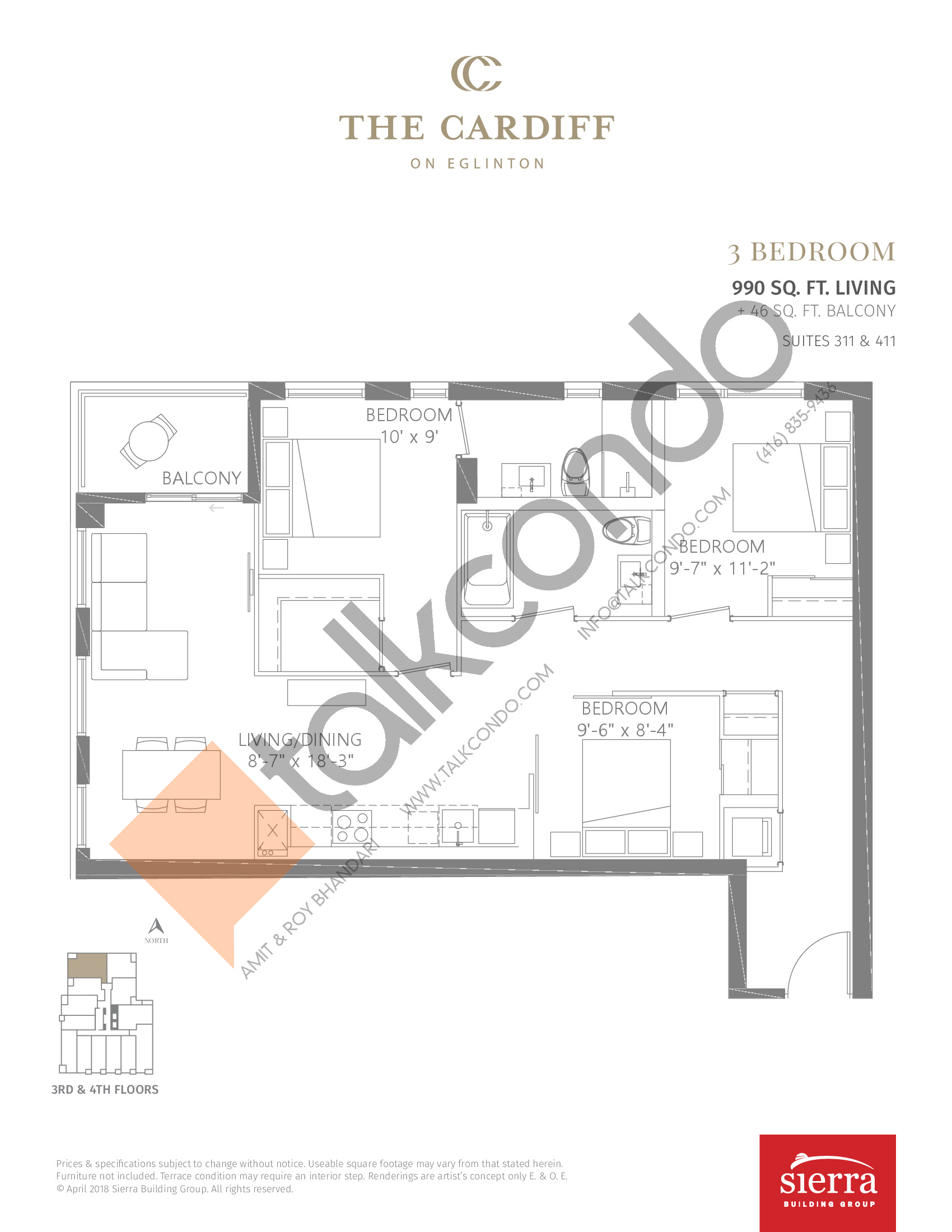 Suites 311 & 411 Floor Plan at The Cardiff Condos on Eglinton - 990 sq.ft