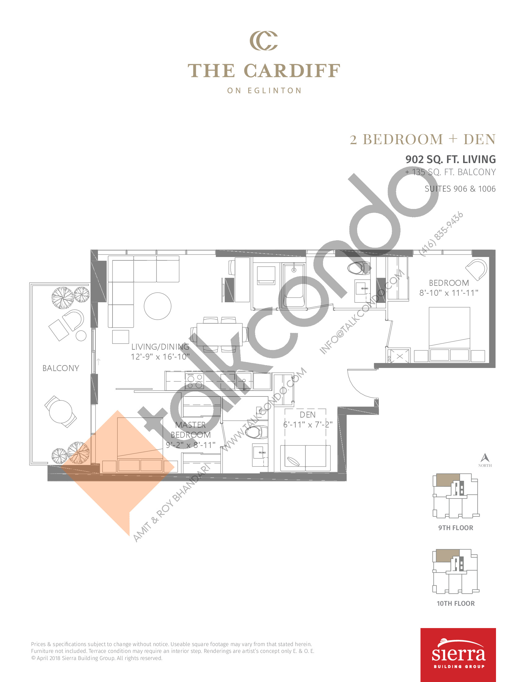 Suites 906 & 1006 Floor Plan at The Cardiff Condos on Eglinton - 902 sq.ft