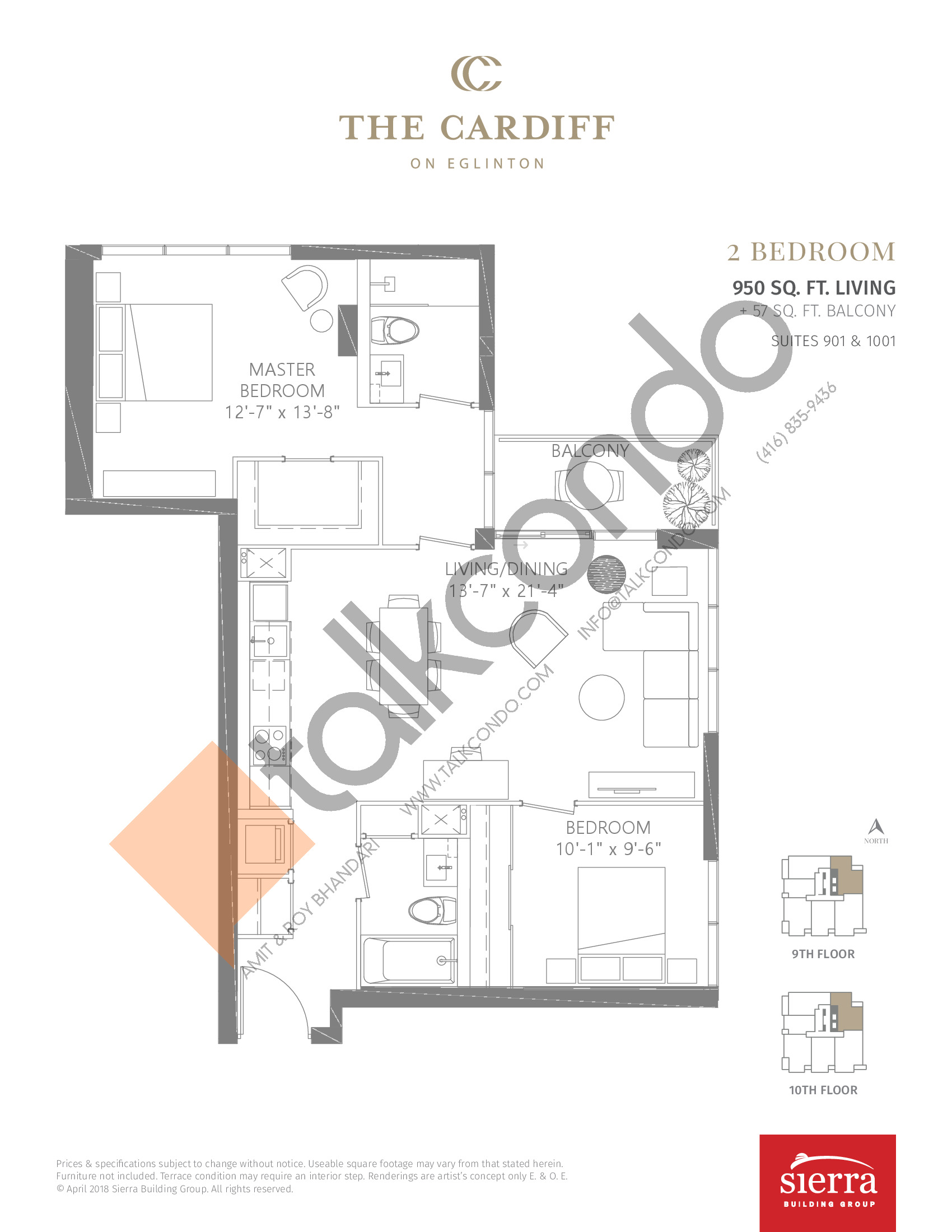 Suites 901 & 1001 Floor Plan at The Cardiff Condos on Eglinton - 950 sq.ft