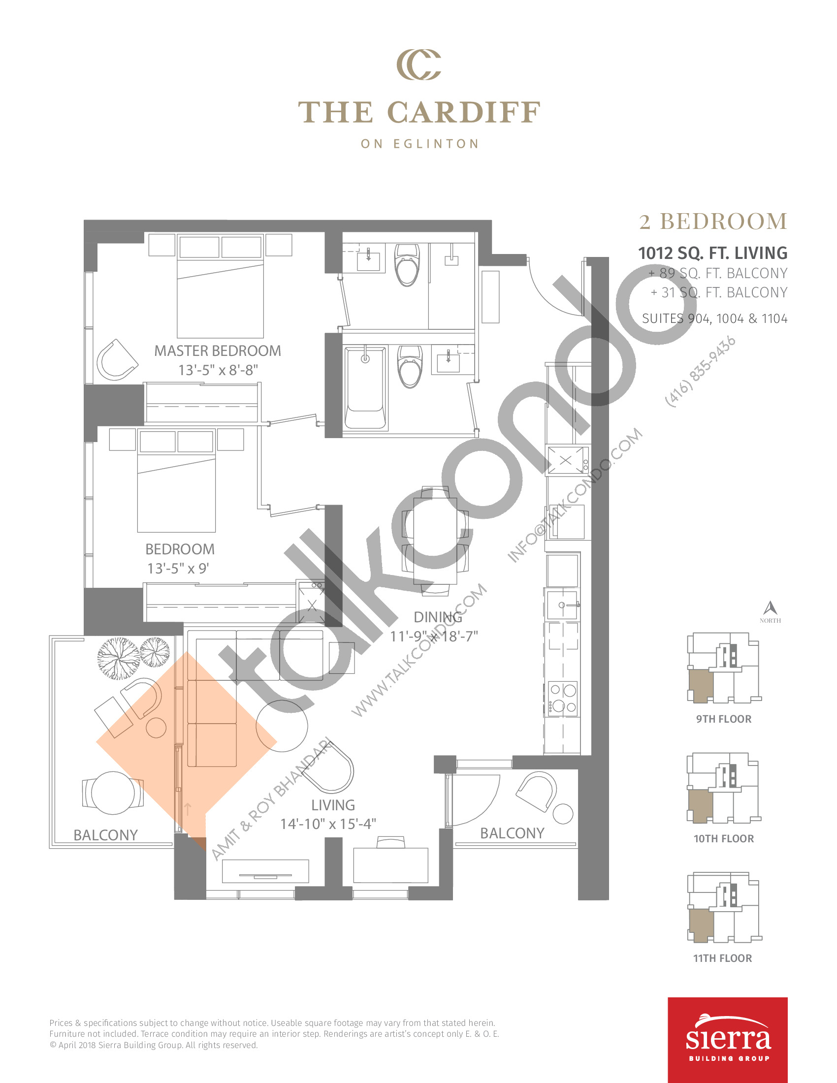 Suites 904, 1004 & 1104 Floor Plan at The Cardiff Condos on Eglinton - 1012 sq.ft