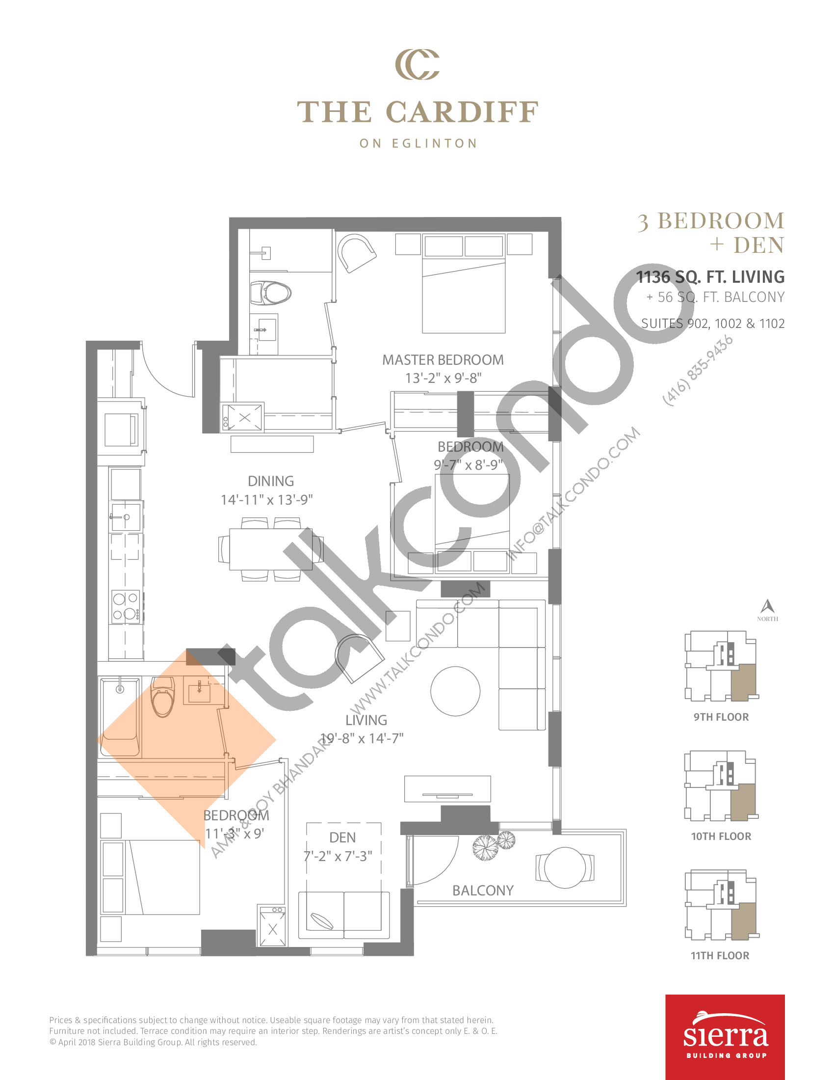 Suites 902, 1002 & 1102 Floor Plan at The Cardiff Condos on Eglinton - 1136 sq.ft