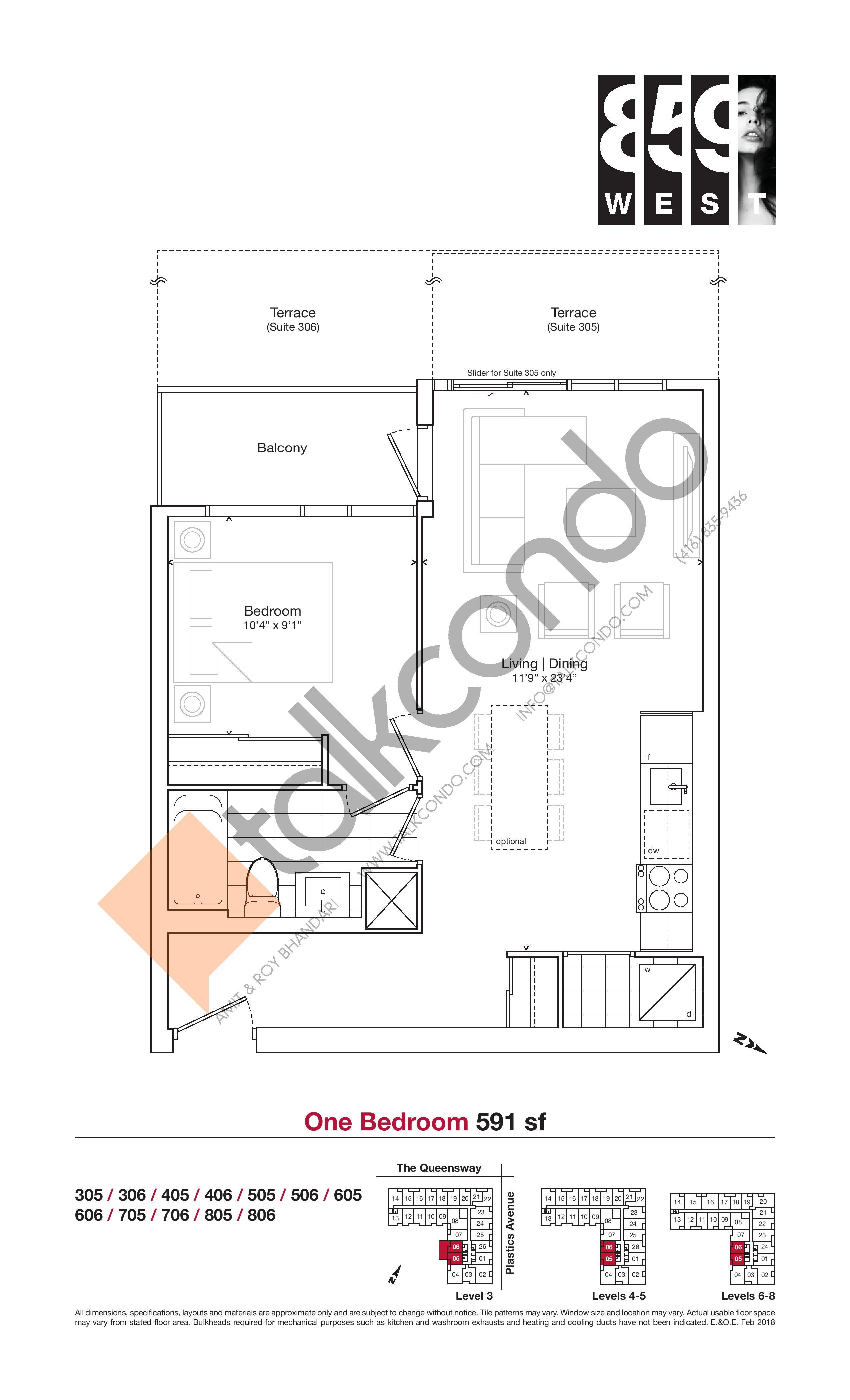 591 sf Floor Plan at 859 West Condos - 591 sq.ft
