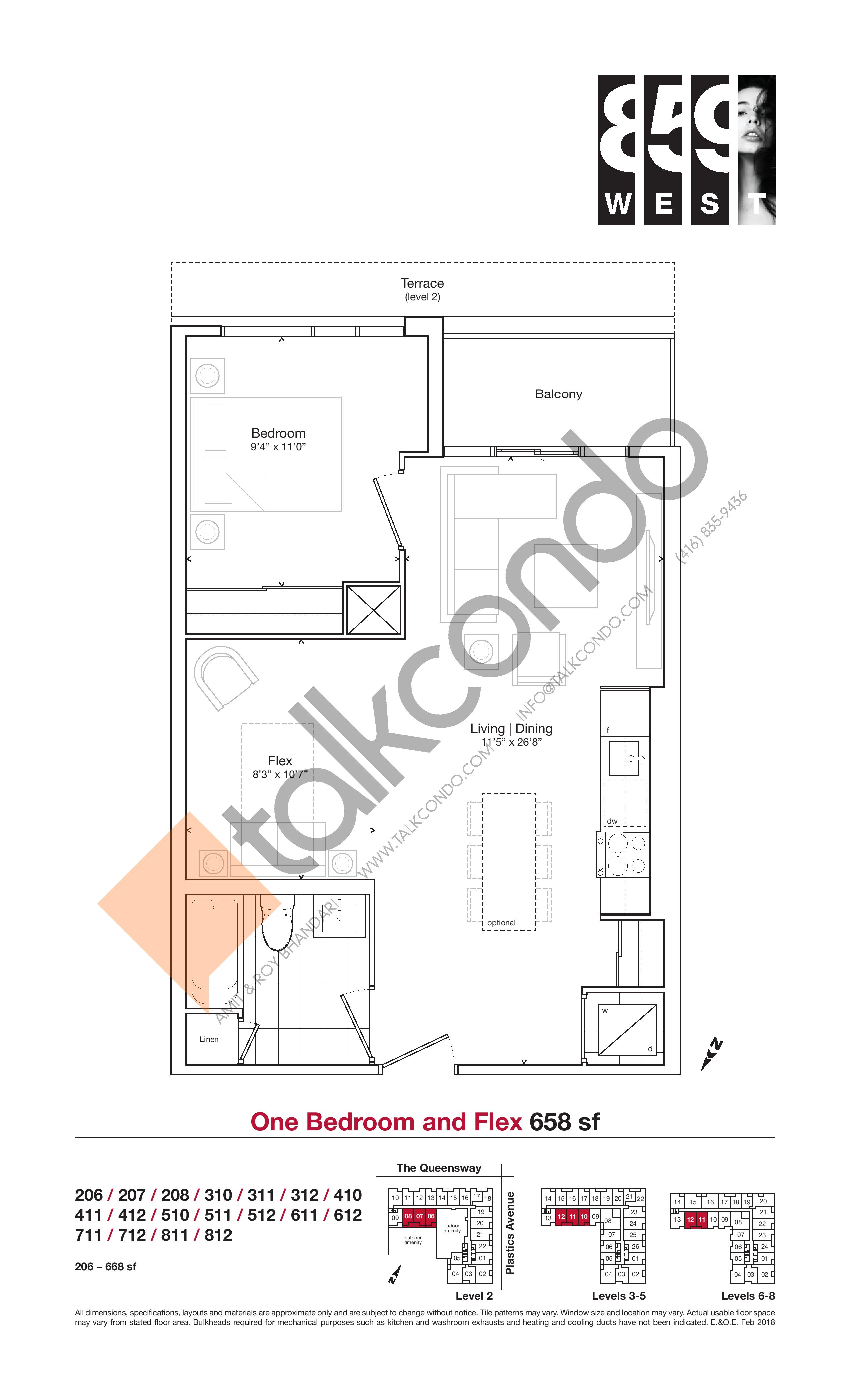 658 sf Floor Plan at 859 West Condos - 658 sq.ft