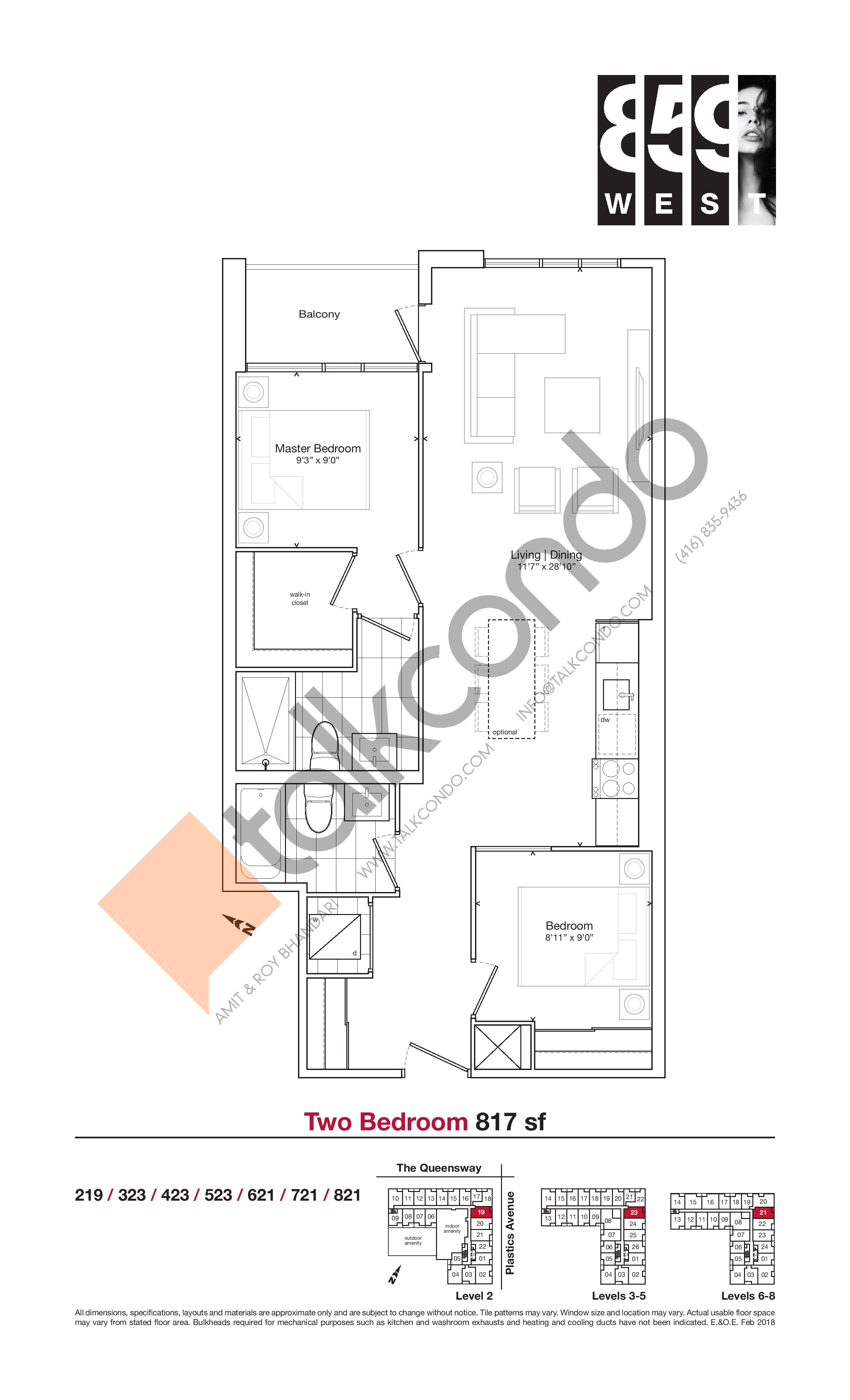 817 sf Floor Plan at 859 West Condos - 817 sq.ft