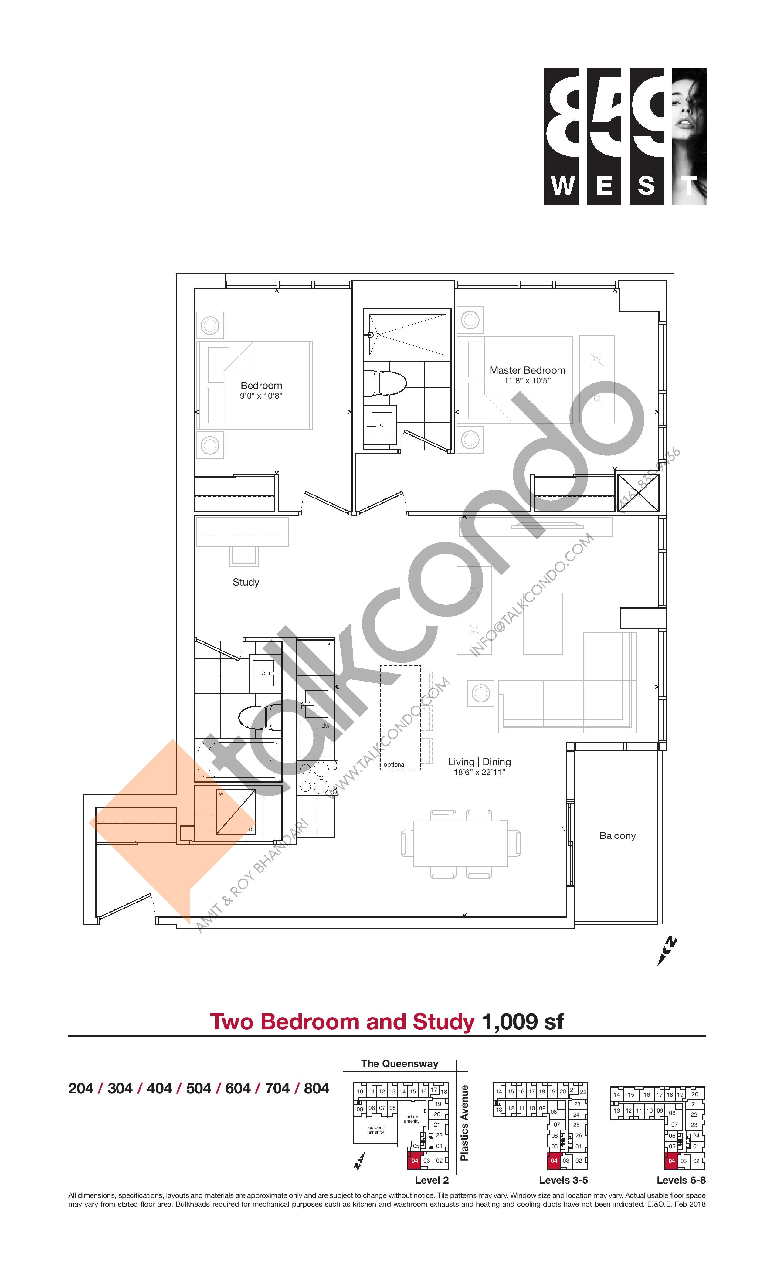 1009 sf Floor Plan at 859 West Condos - 1009 sq.ft