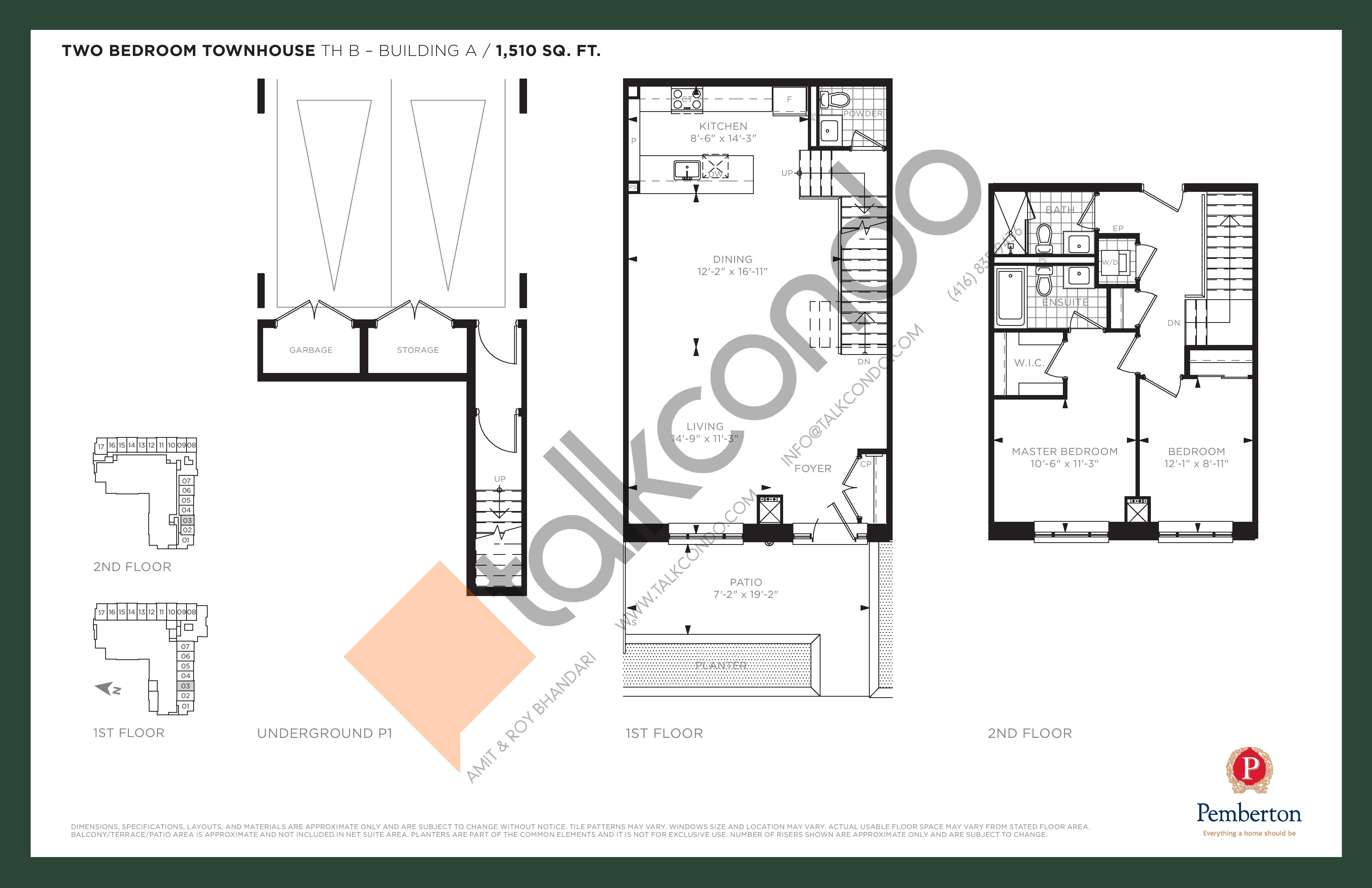 TH B - Building A Floor Plan at 9th & Main Condos + Towns - 1510 sq.ft