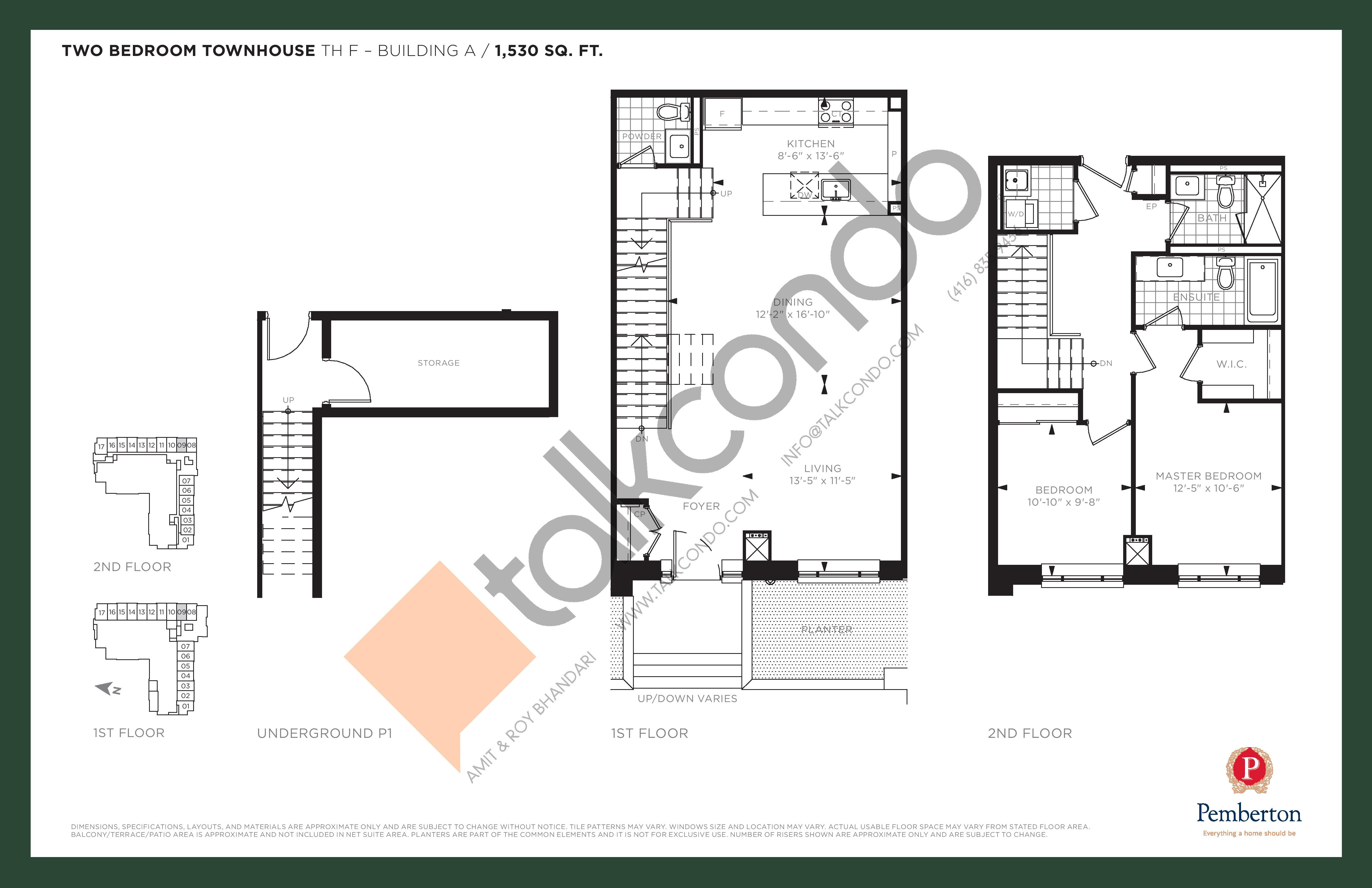 TH F - Building A Floor Plan at 9th & Main Condos + Towns - 1530 sq.ft