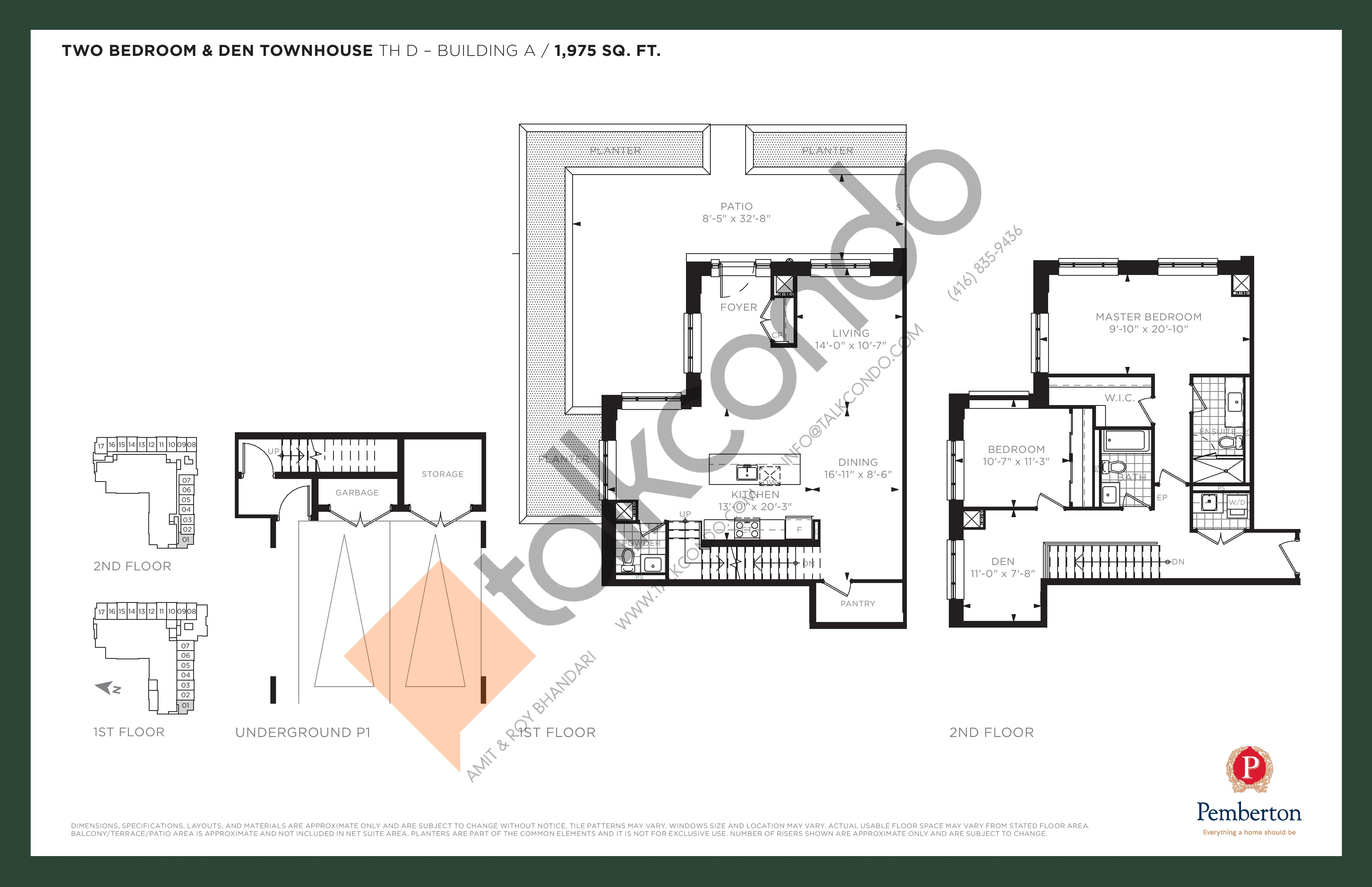 TH D - Building A Floor Plan at 9th & Main Condos + Towns - 1975 sq.ft