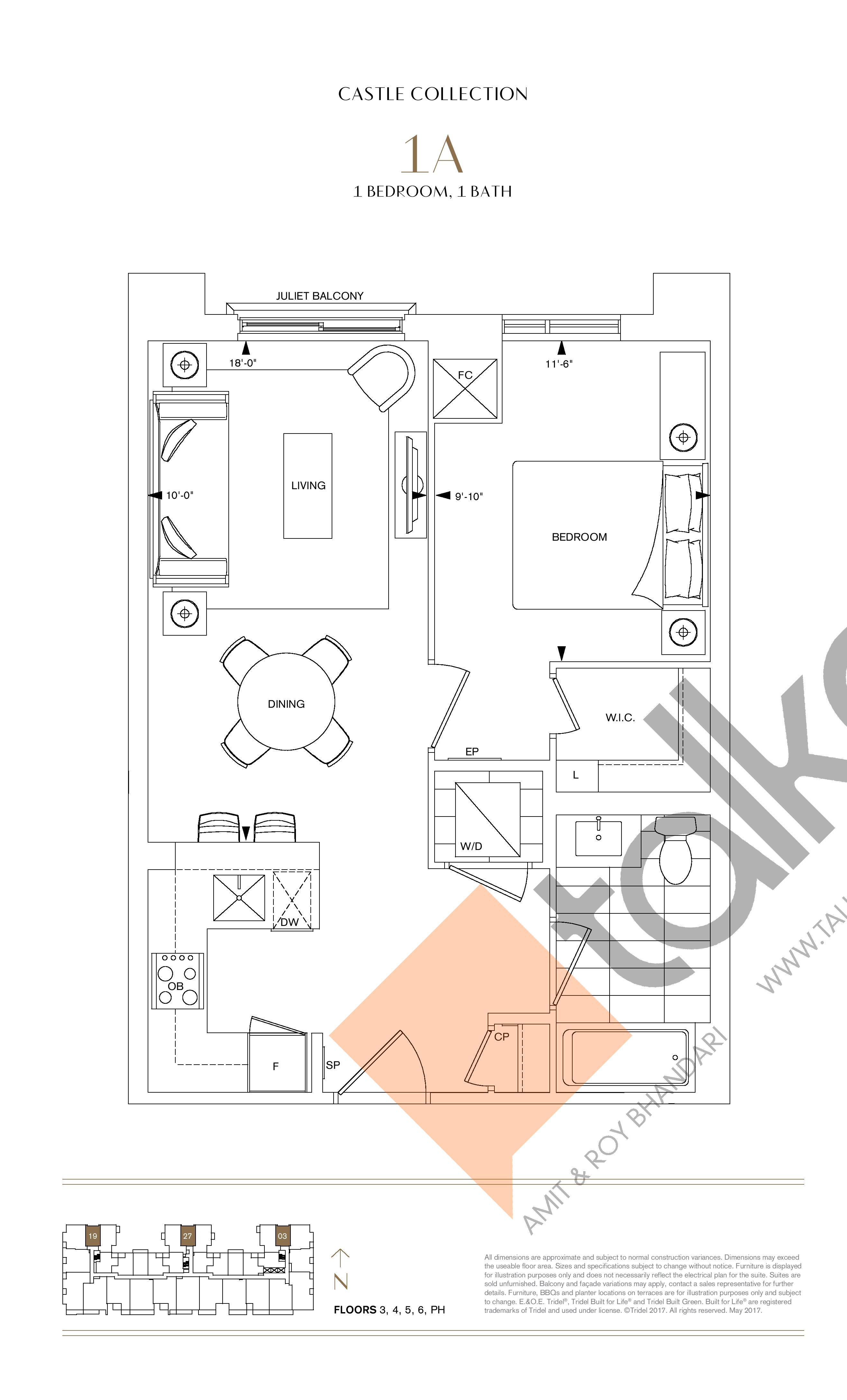 1A Floor Plan at Bianca Condos - 601 sq.ft
