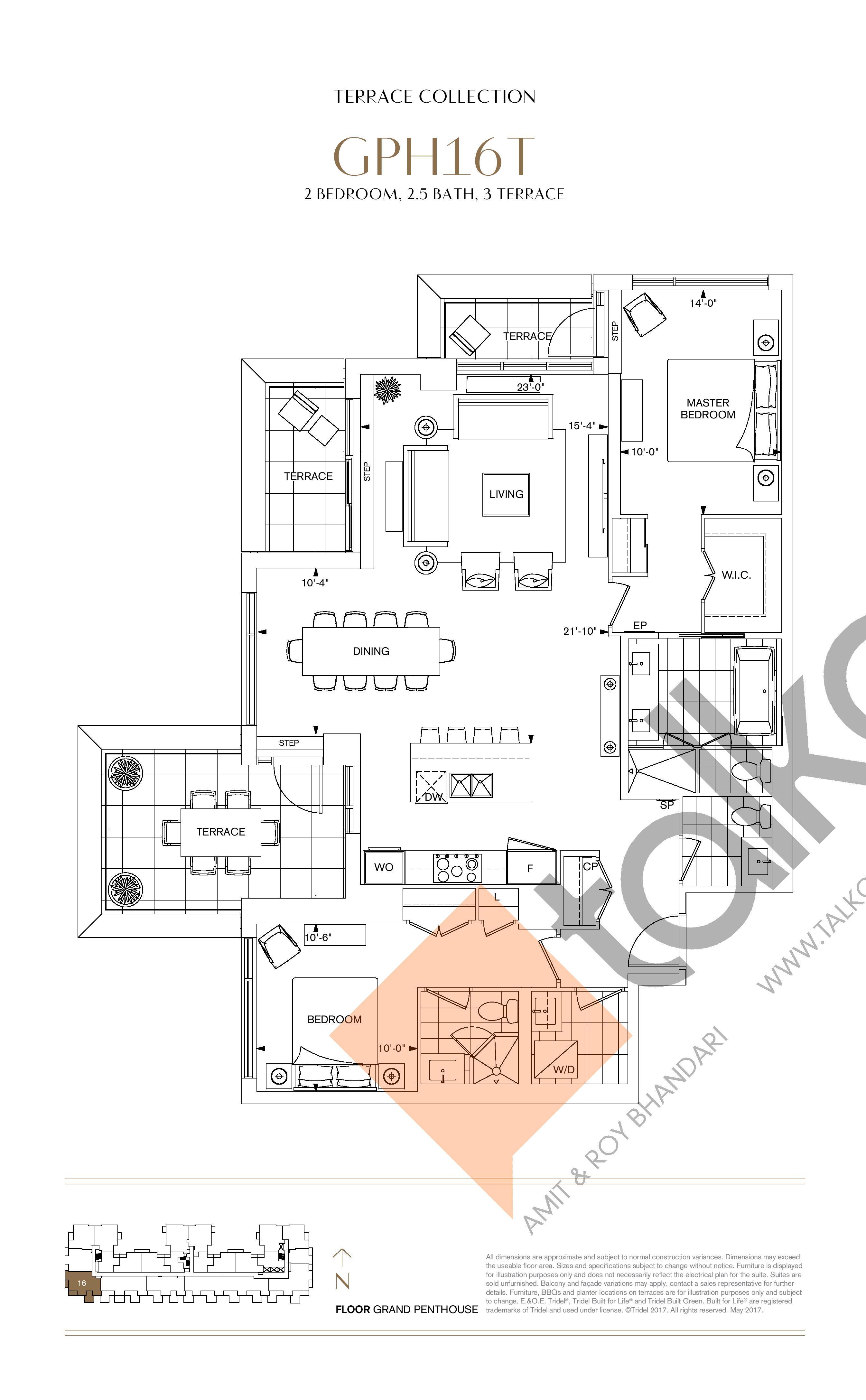 GPH16T Floor Plan at Bianca Condos - 1413 sq.ft