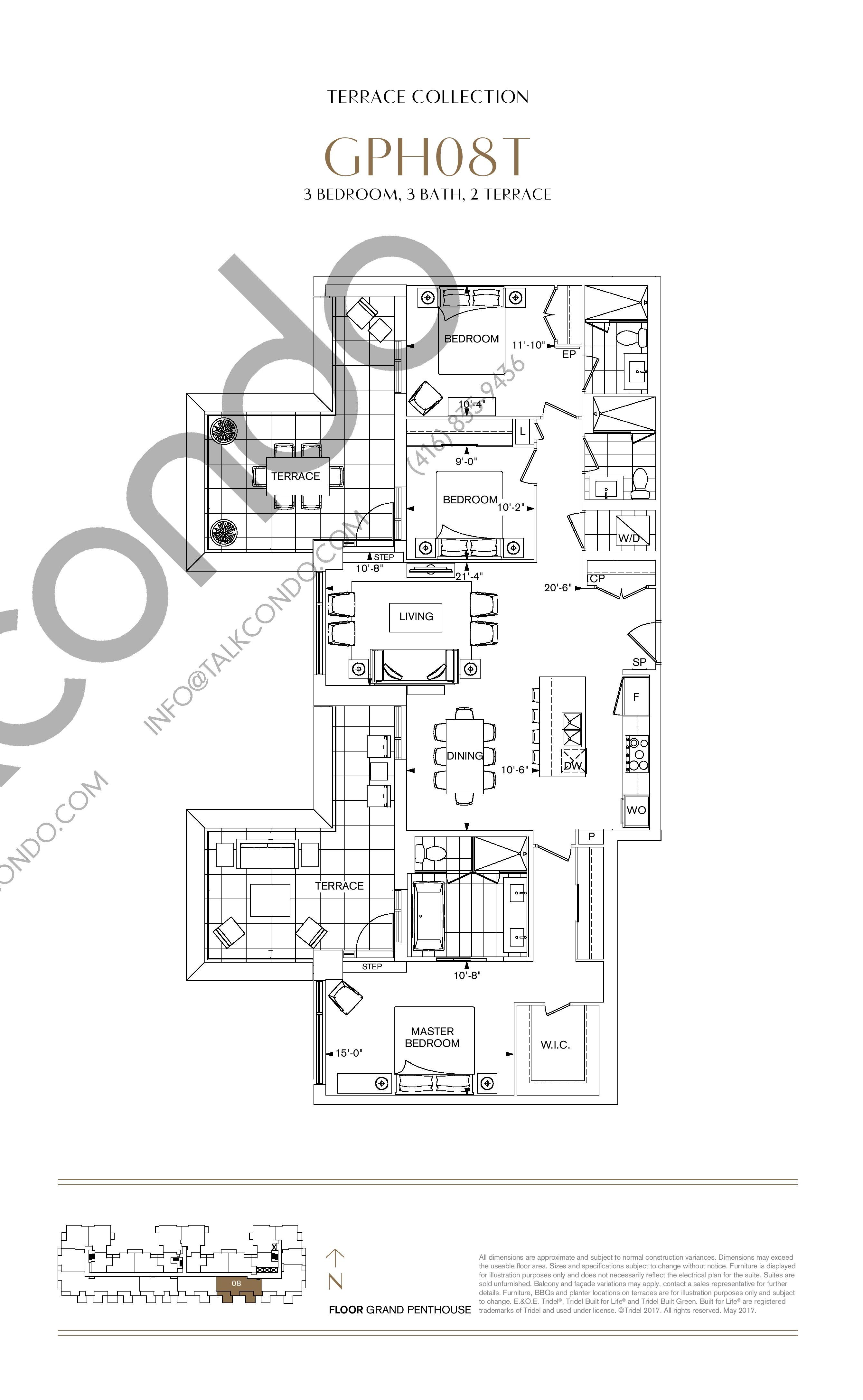 GPH08T Floor Plan at Bianca Condos - 1486 sq.ft