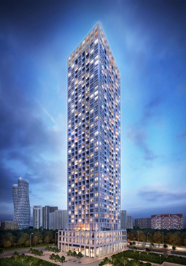 Edge Towers Phase 2 Exterior Rendering at Night