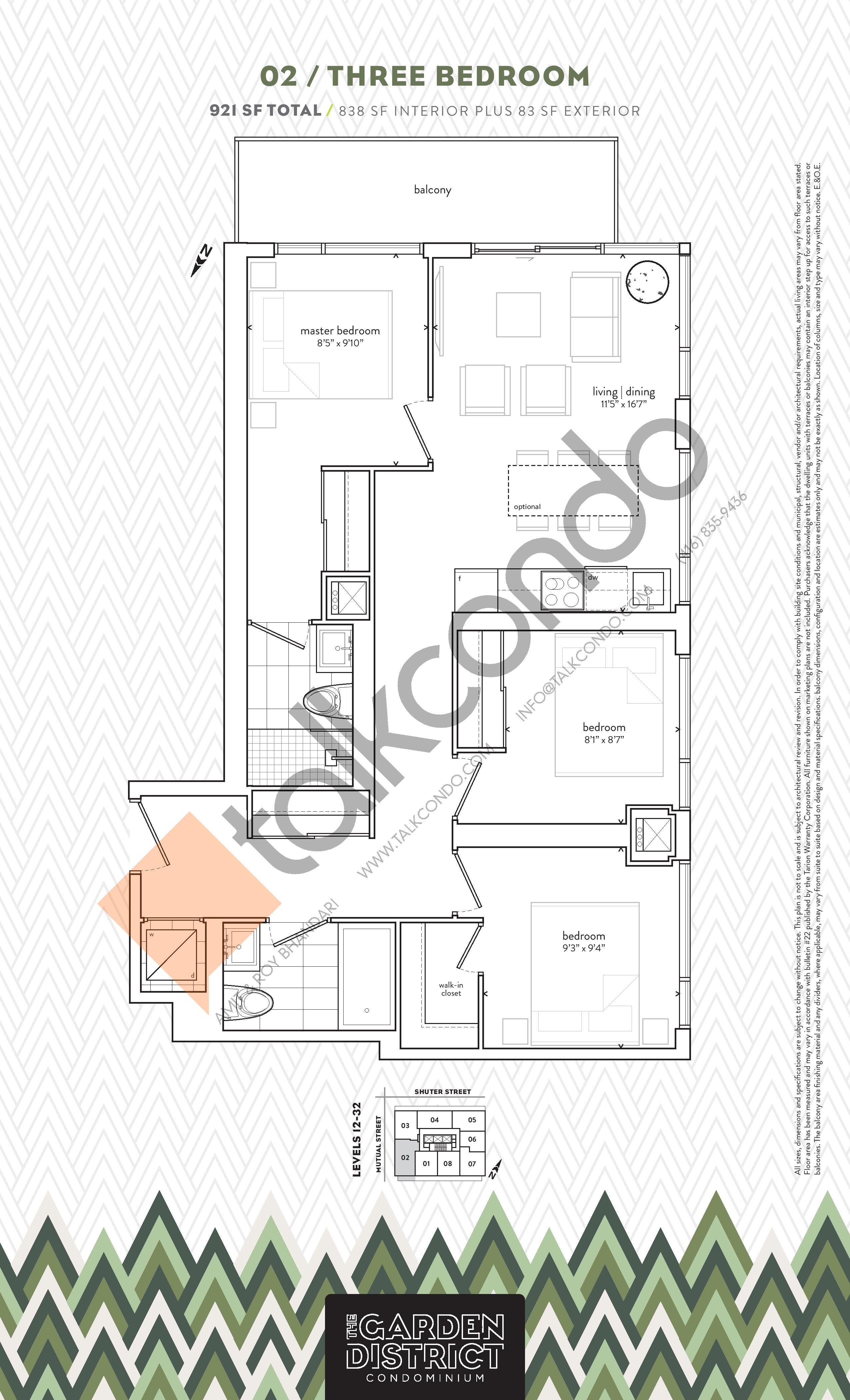 02 Floor Plan at Garden District Condos - 838 sq.ft