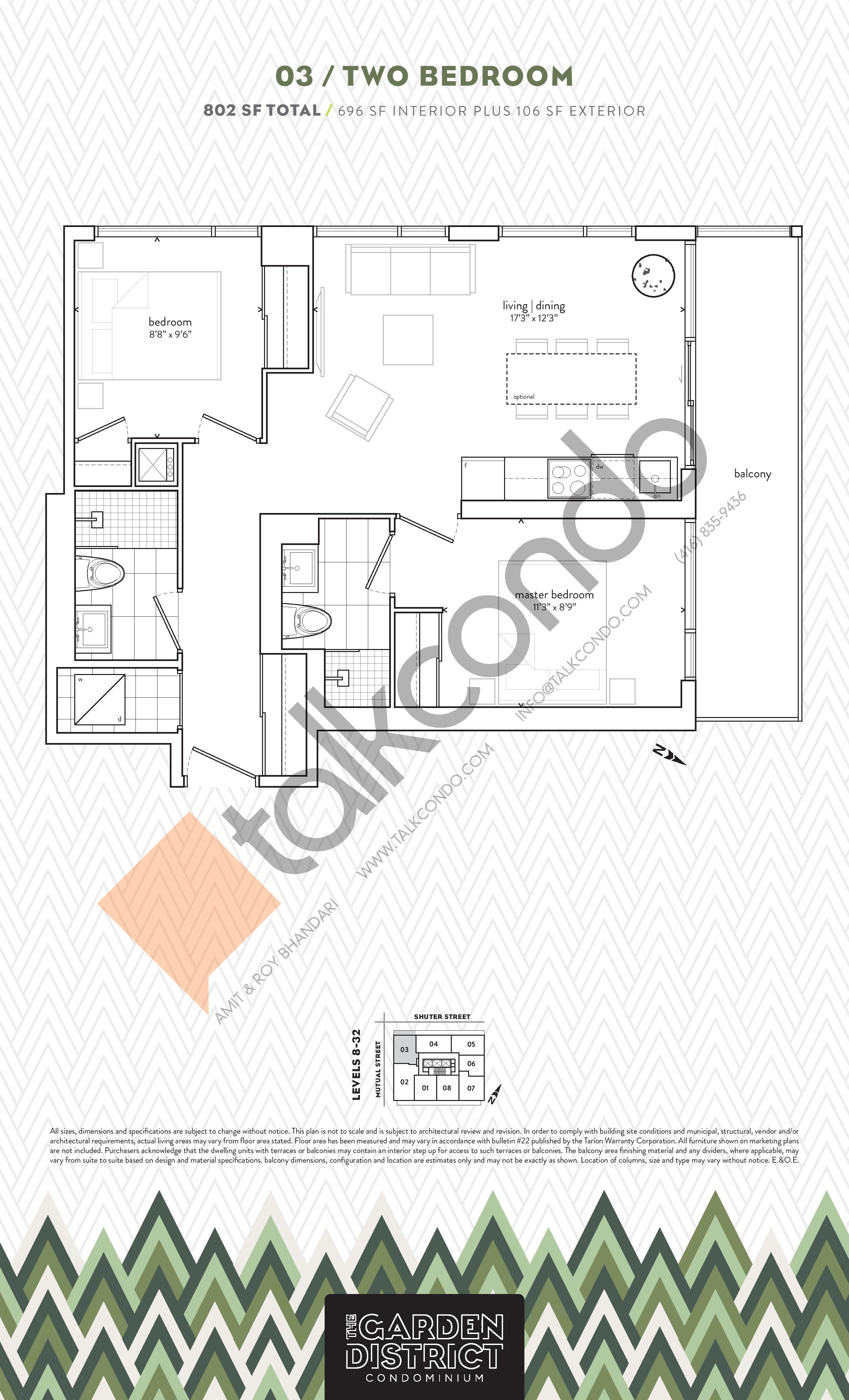 03 Floor Plan at Garden District Condos - 696 sq.ft