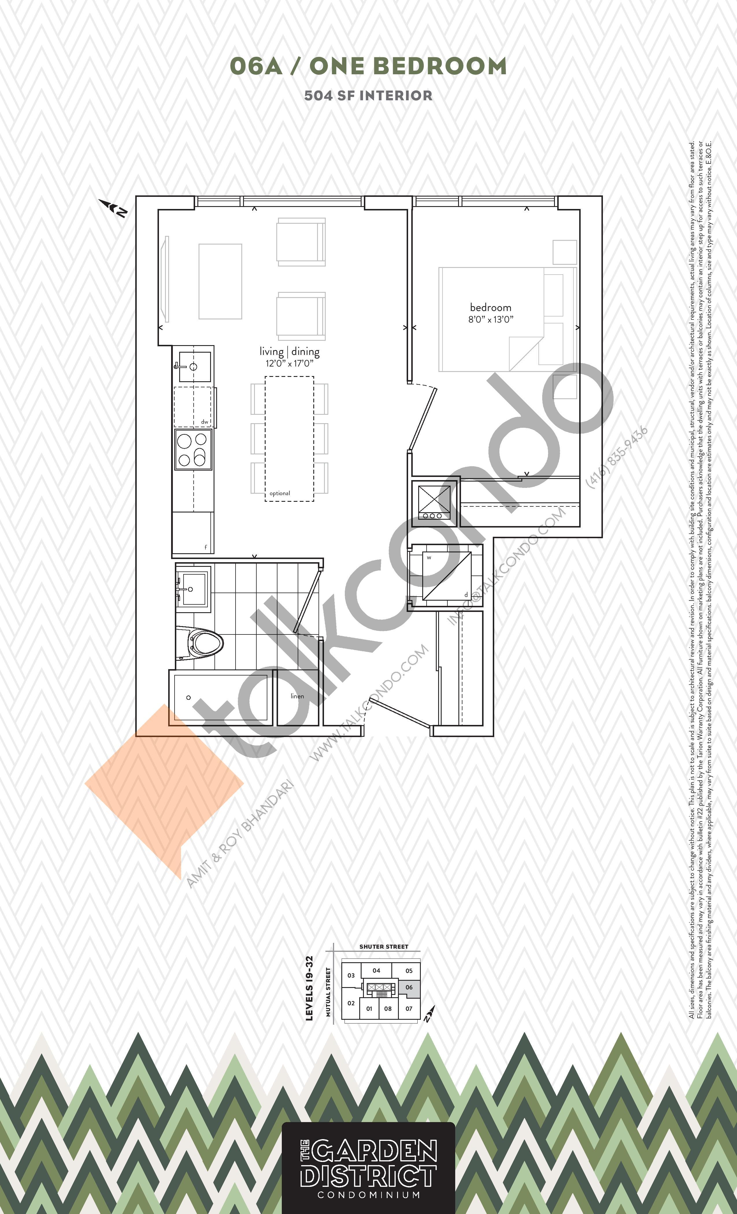 06A Floor Plan at Garden District Condos - 504 sq.ft
