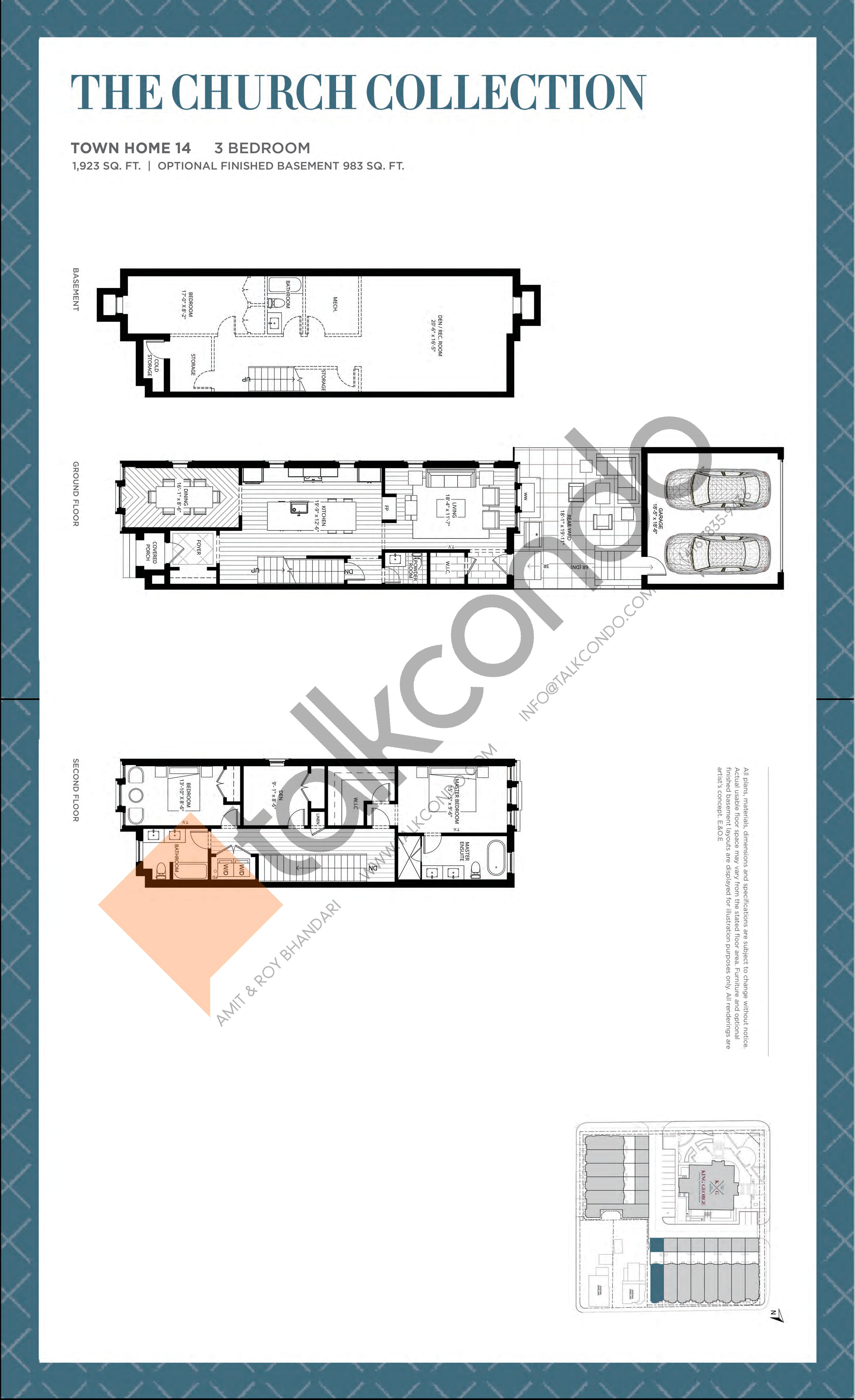Town Home 14 - The Church Collection Floor Plan at King George School Lofts & Town Homes - 1923 sq.ft