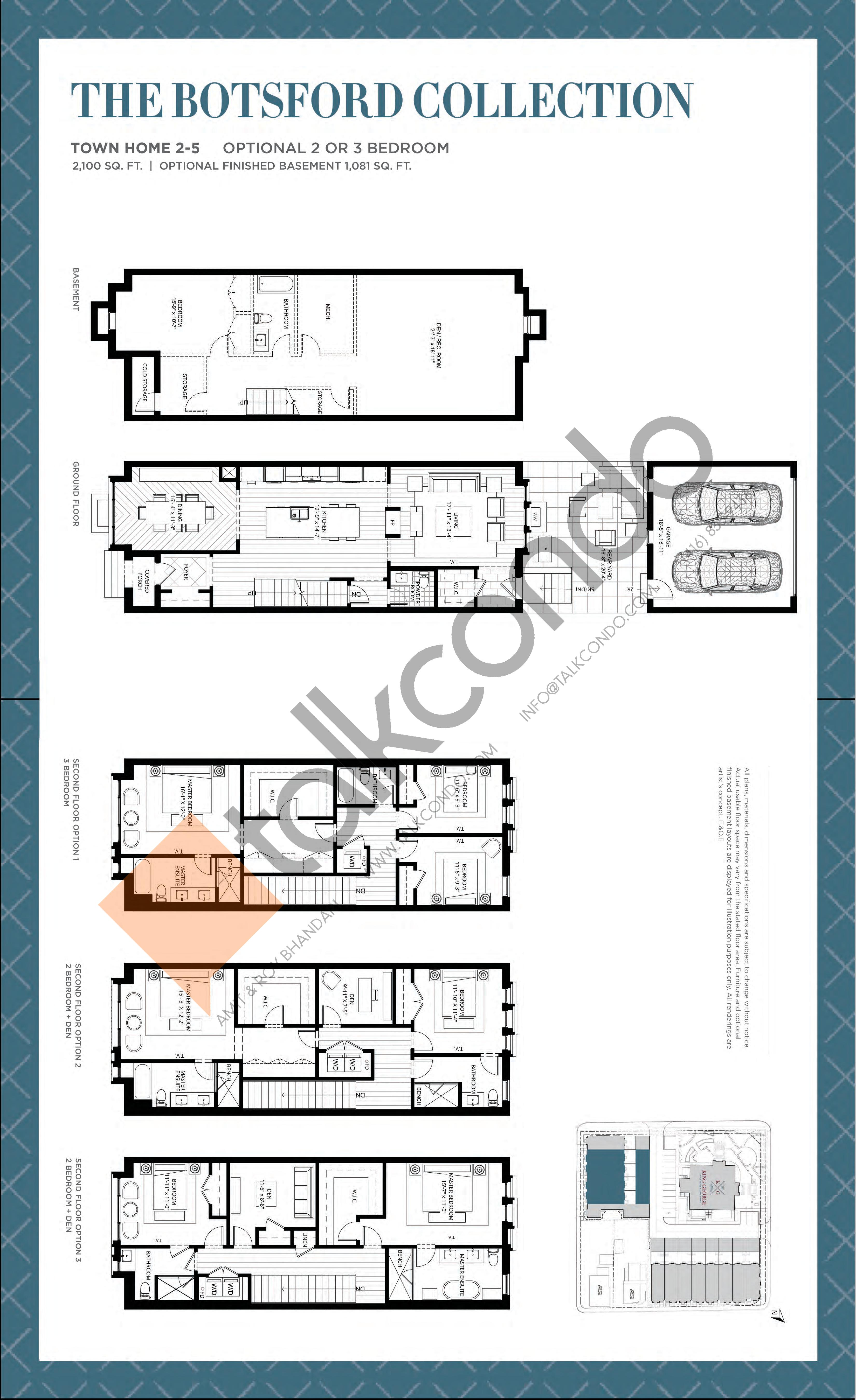 Town Home 2-5 - The Botsford Collection Floor Plan at King George School Lofts & Town Homes - 2100 sq.ft