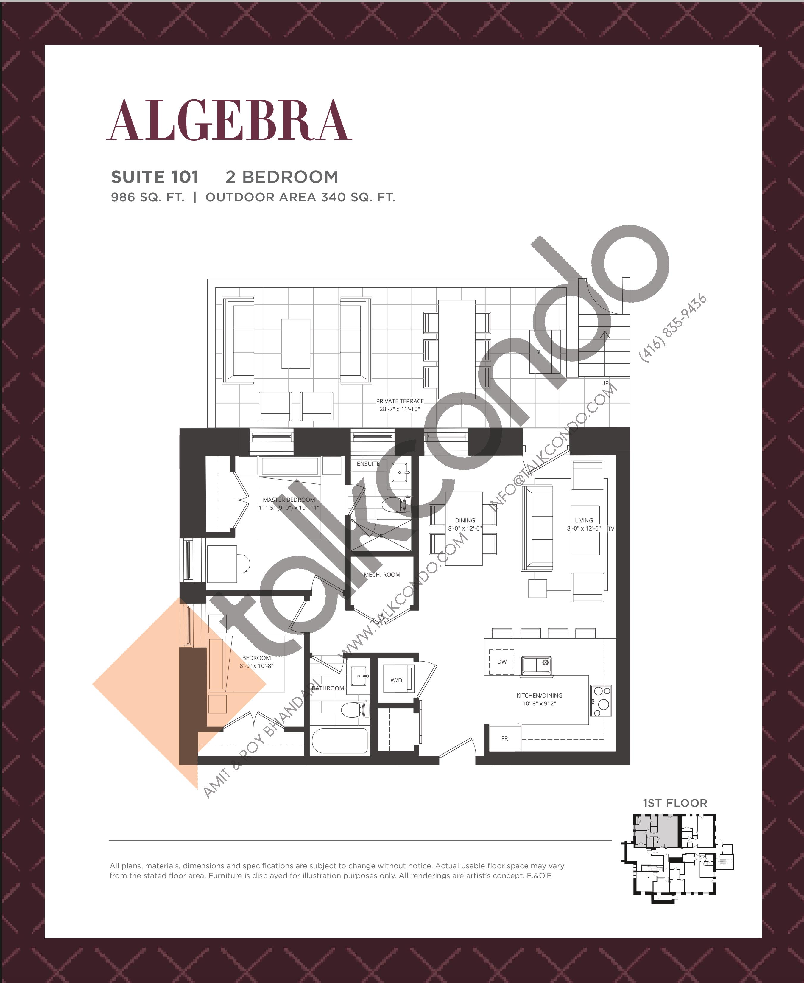 Algebra Floor Plan at King George School Lofts & Town Homes - 986 sq.ft