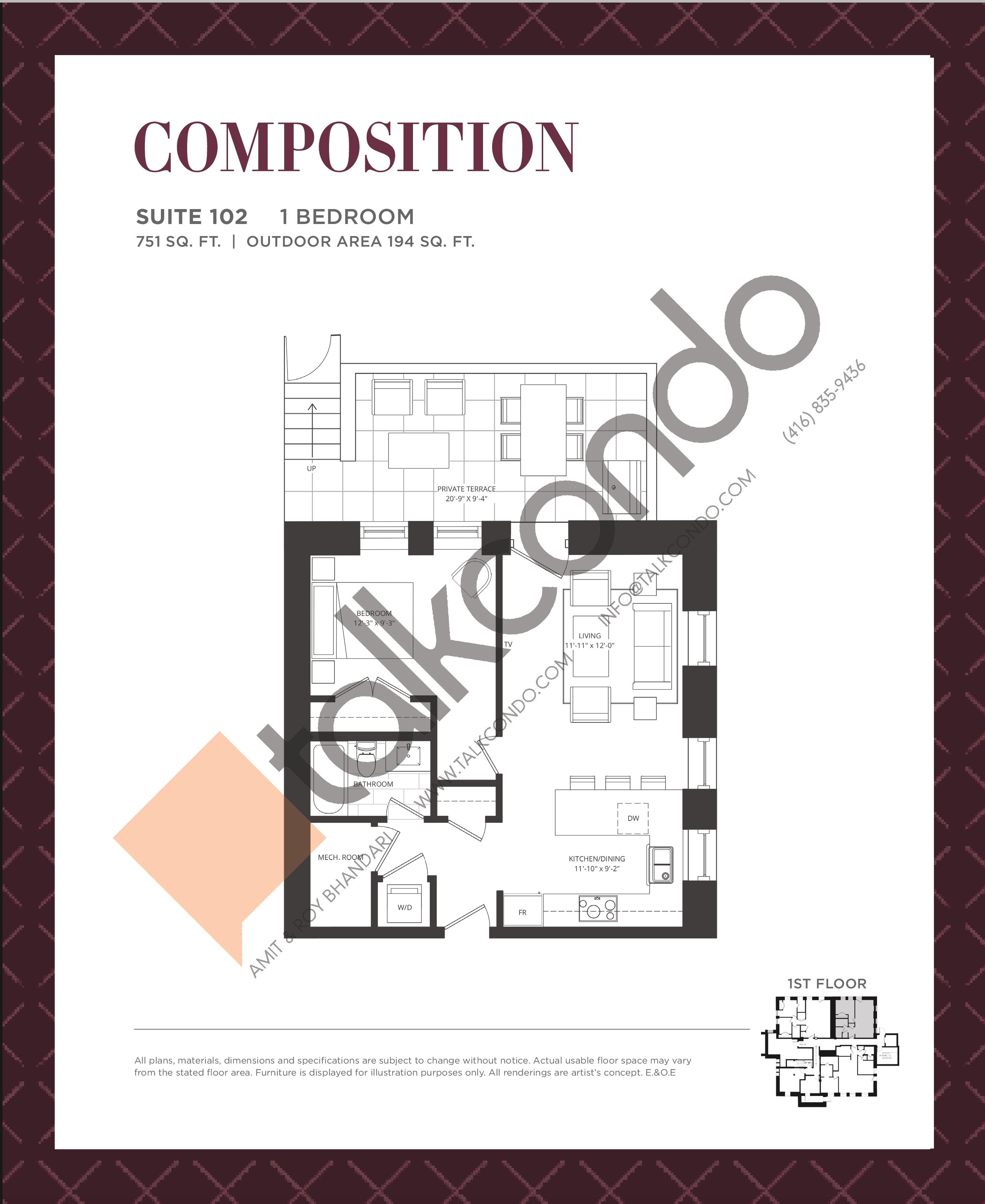 Composition Floor Plan at King George School Lofts & Town Homes - 751 sq.ft