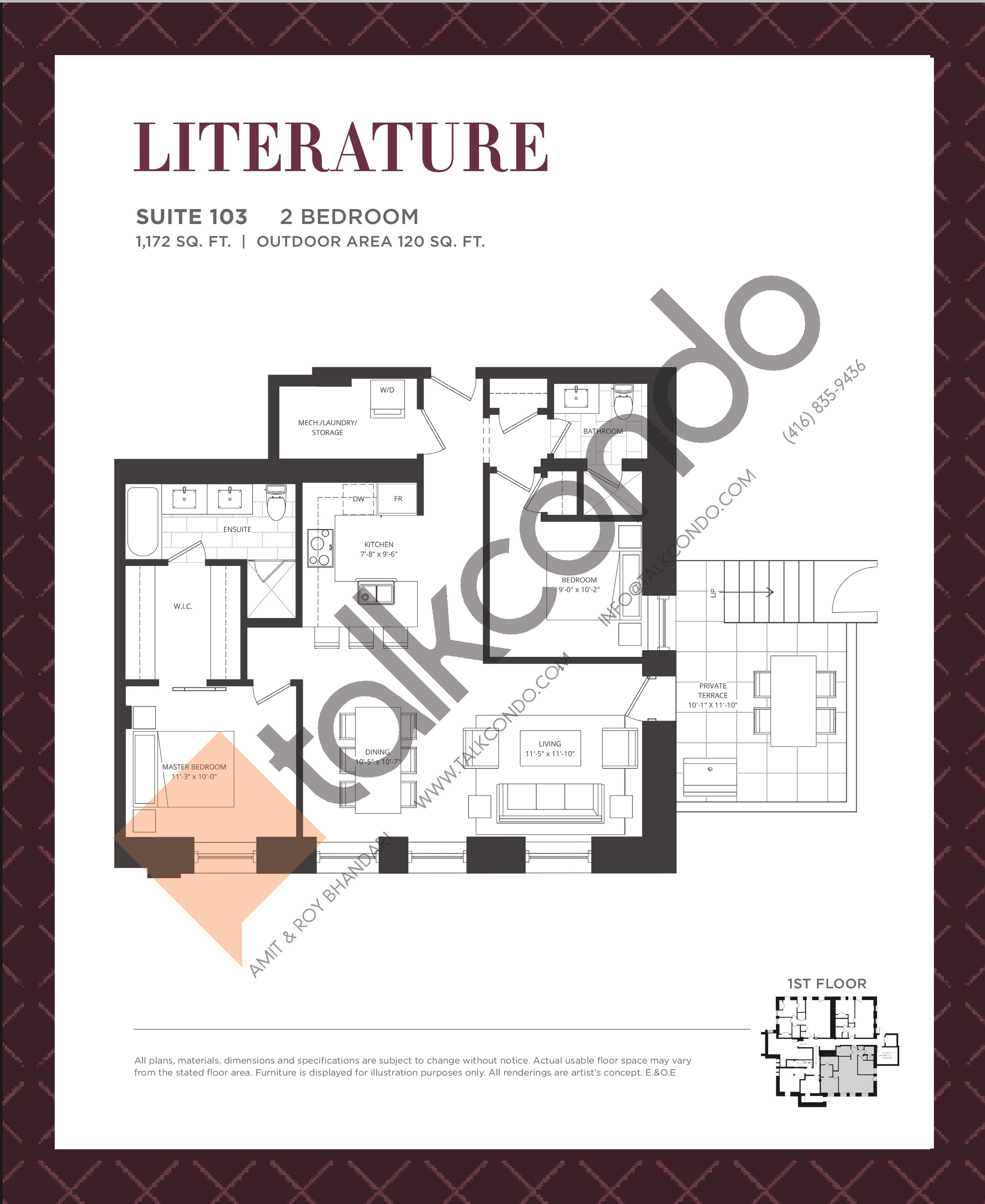 Literature Floor Plan at King George School Lofts & Town Homes - 1172 sq.ft