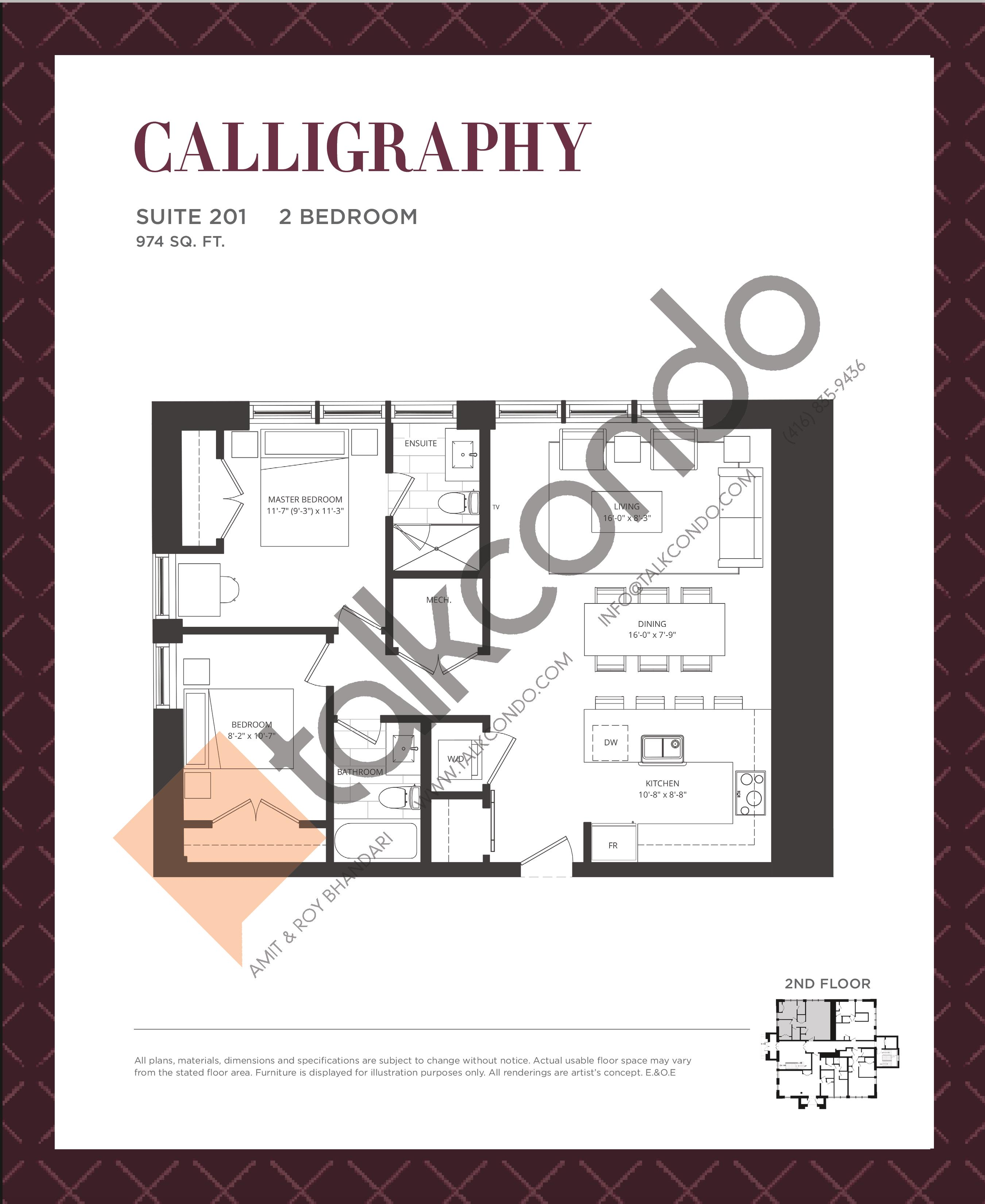Calligraphy Floor Plan at King George School Lofts & Town Homes - 974 sq.ft