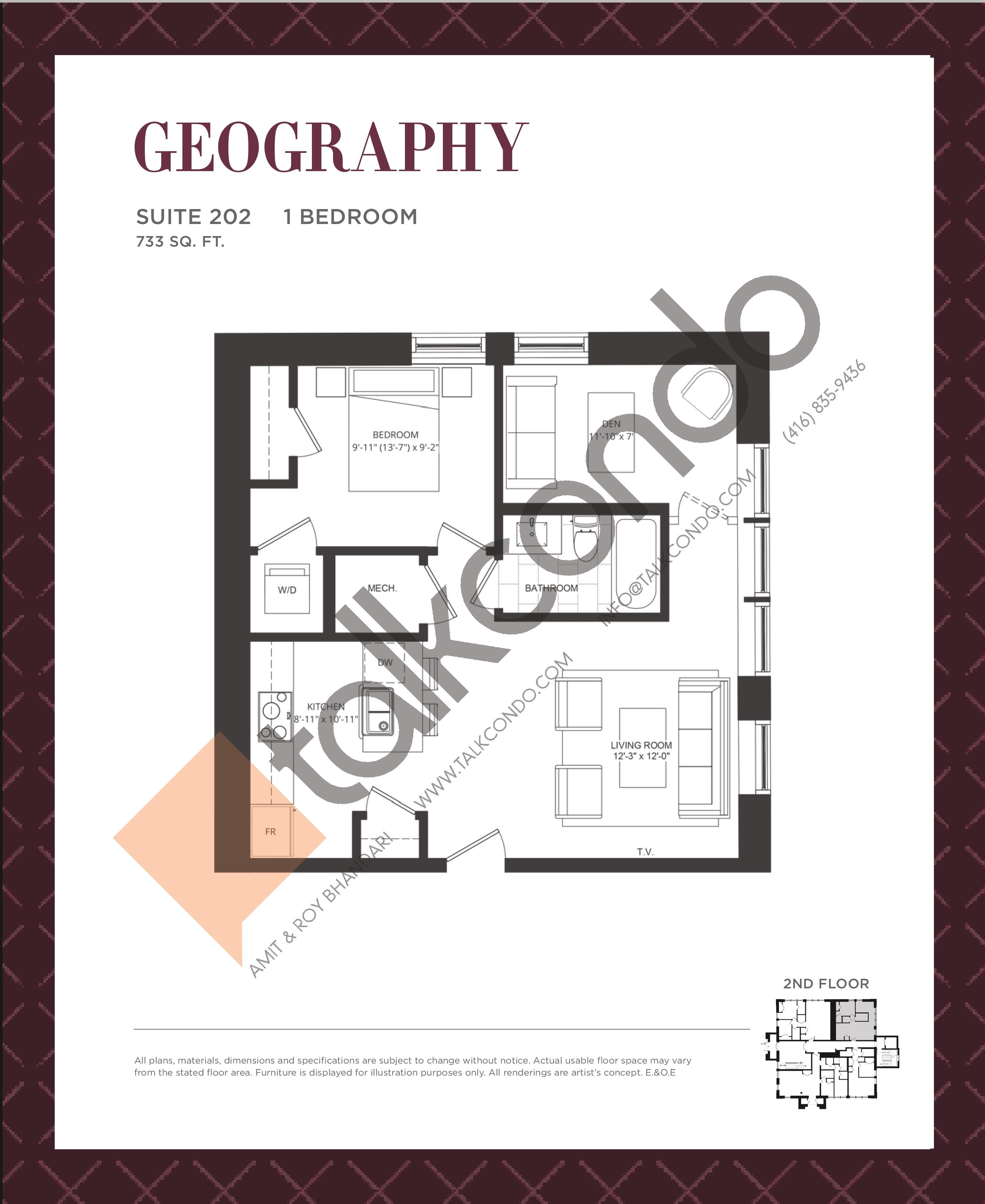 Geography Floor Plan at King George School Lofts & Town Homes - 733 sq.ft