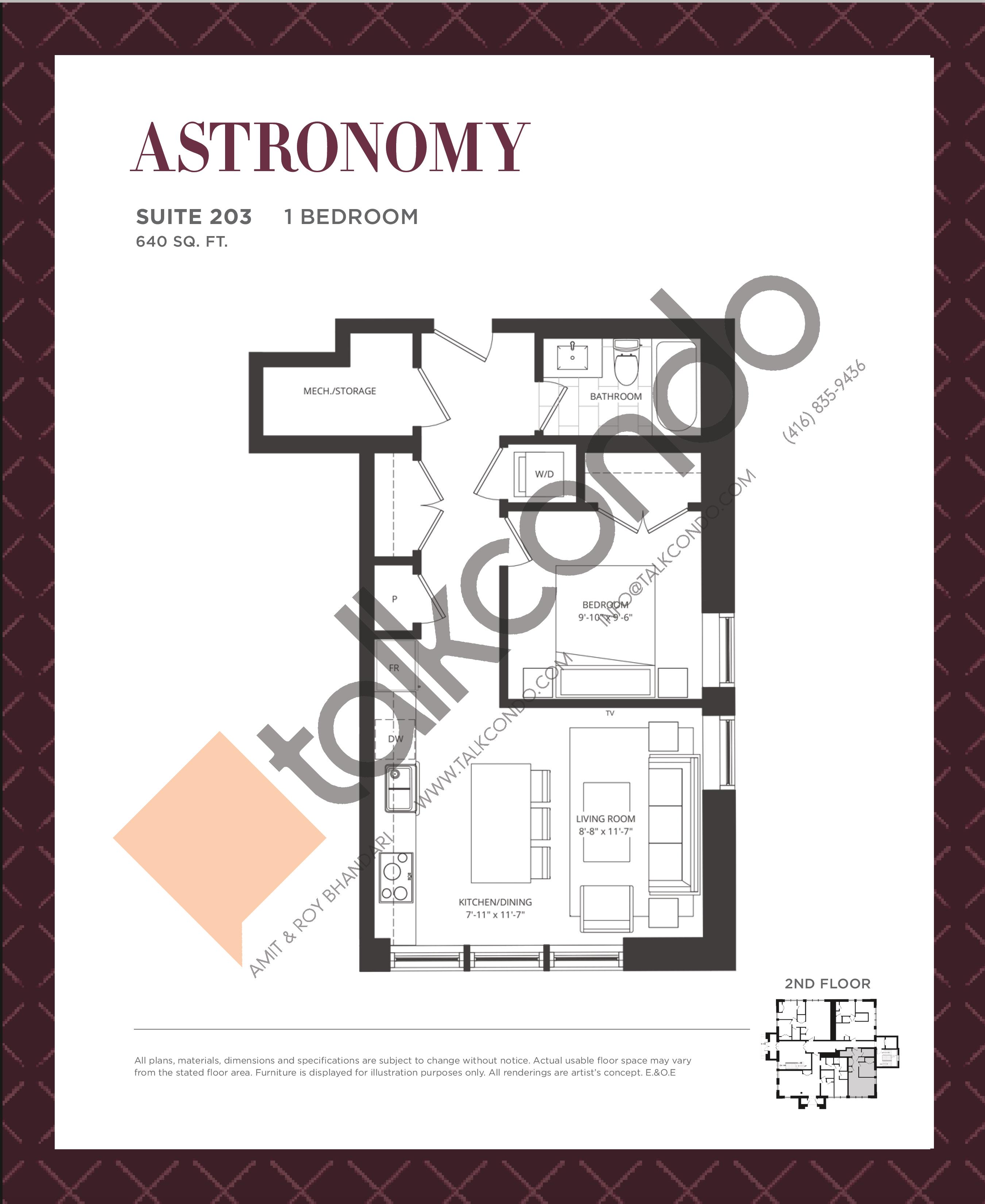 Astronomy Floor Plan at King George School Lofts & Town Homes - 640 sq.ft