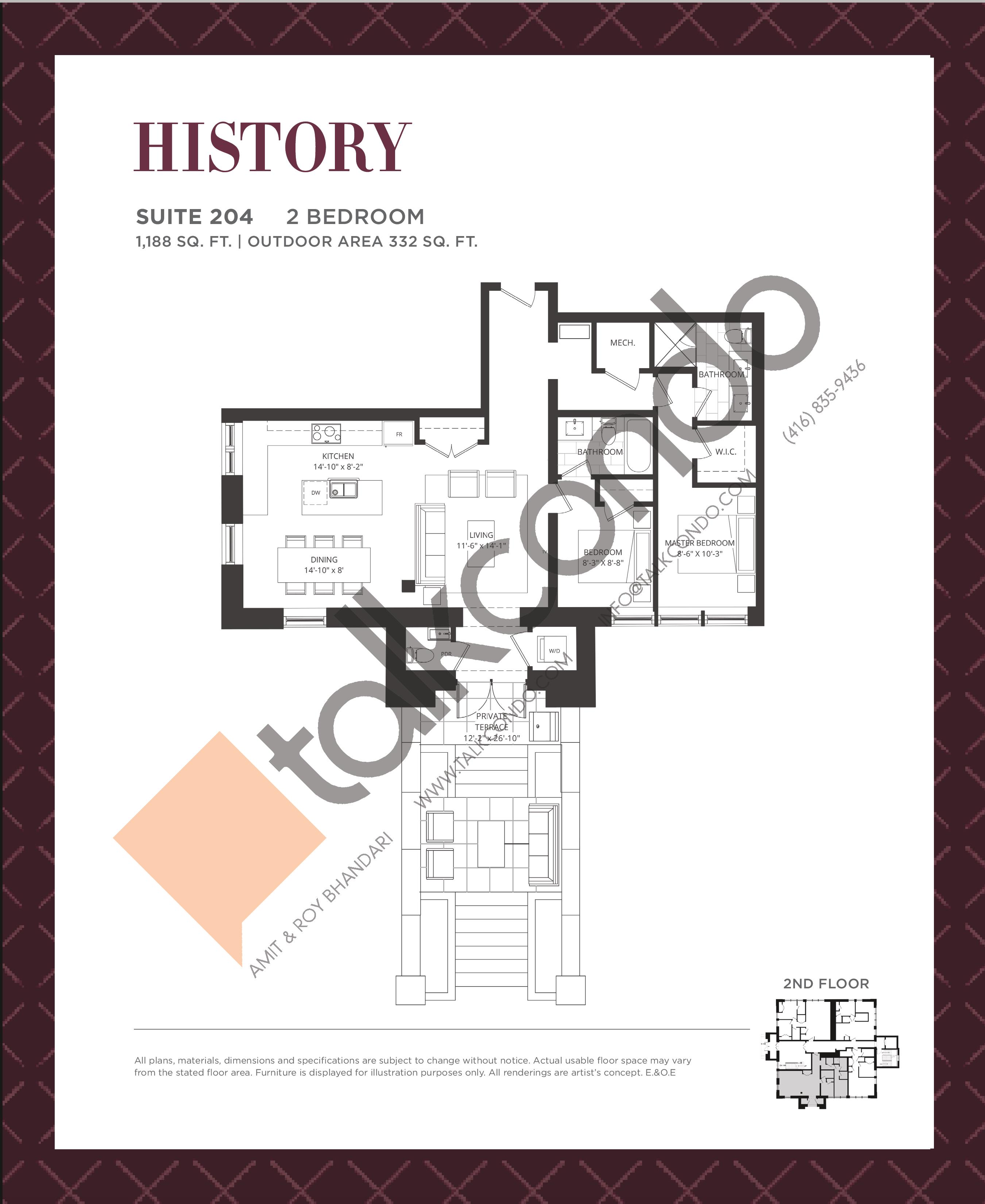 History Floor Plan at King George School Lofts & Town Homes - 1188 sq.ft