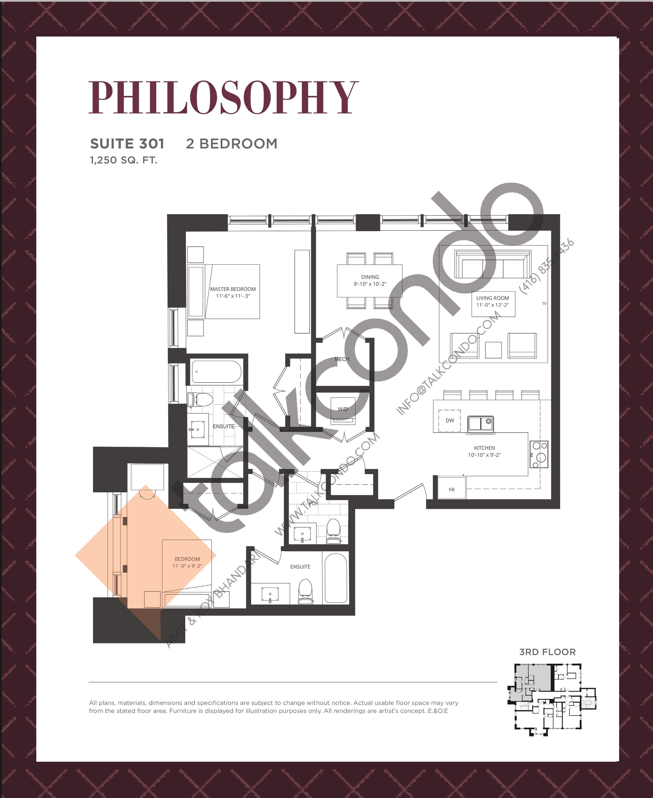 Philosophy Floor Plan at King George School Lofts & Town Homes - 1250 sq.ft