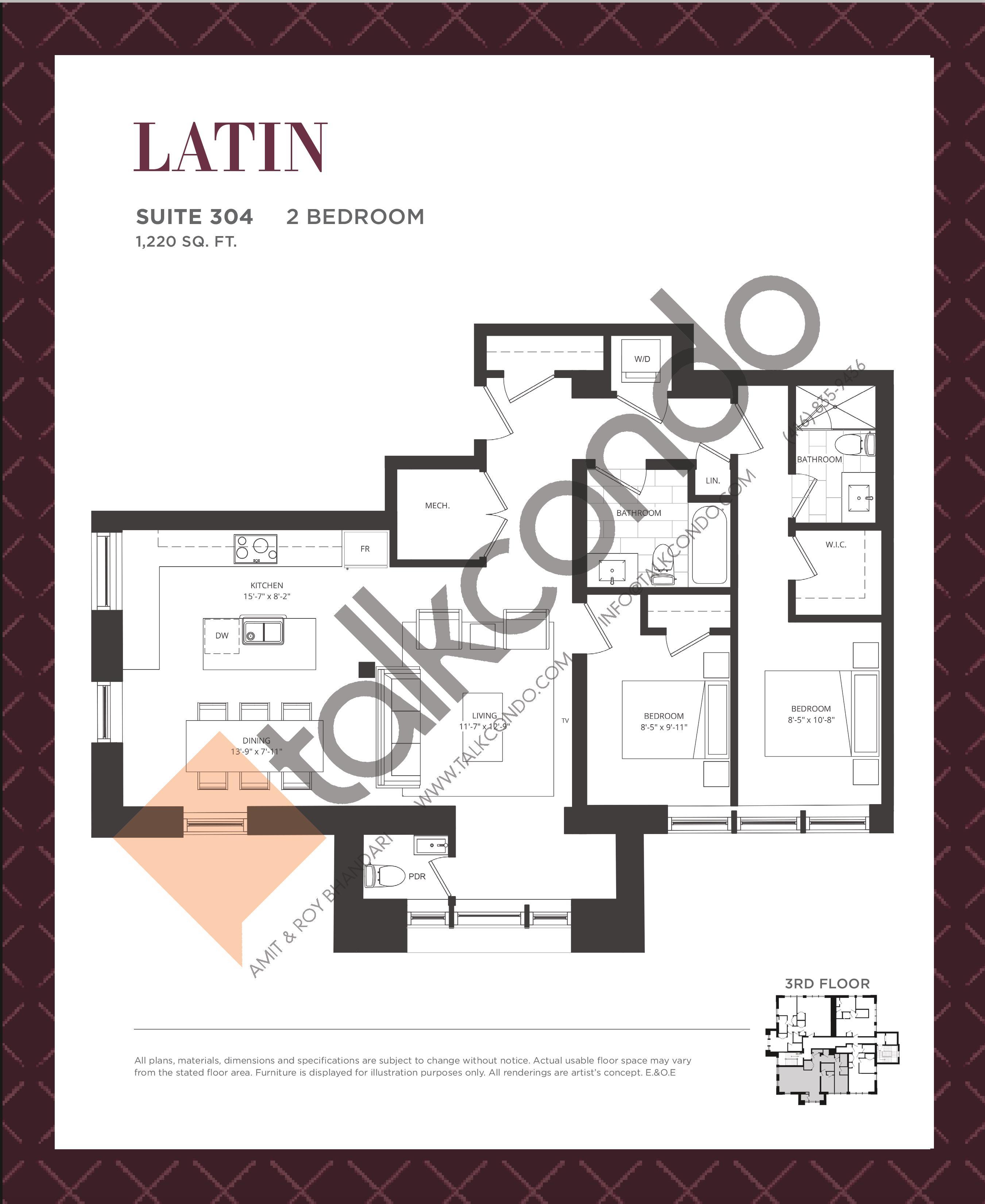 Latin Floor Plan at King George School Lofts & Town Homes - 1220 sq.ft